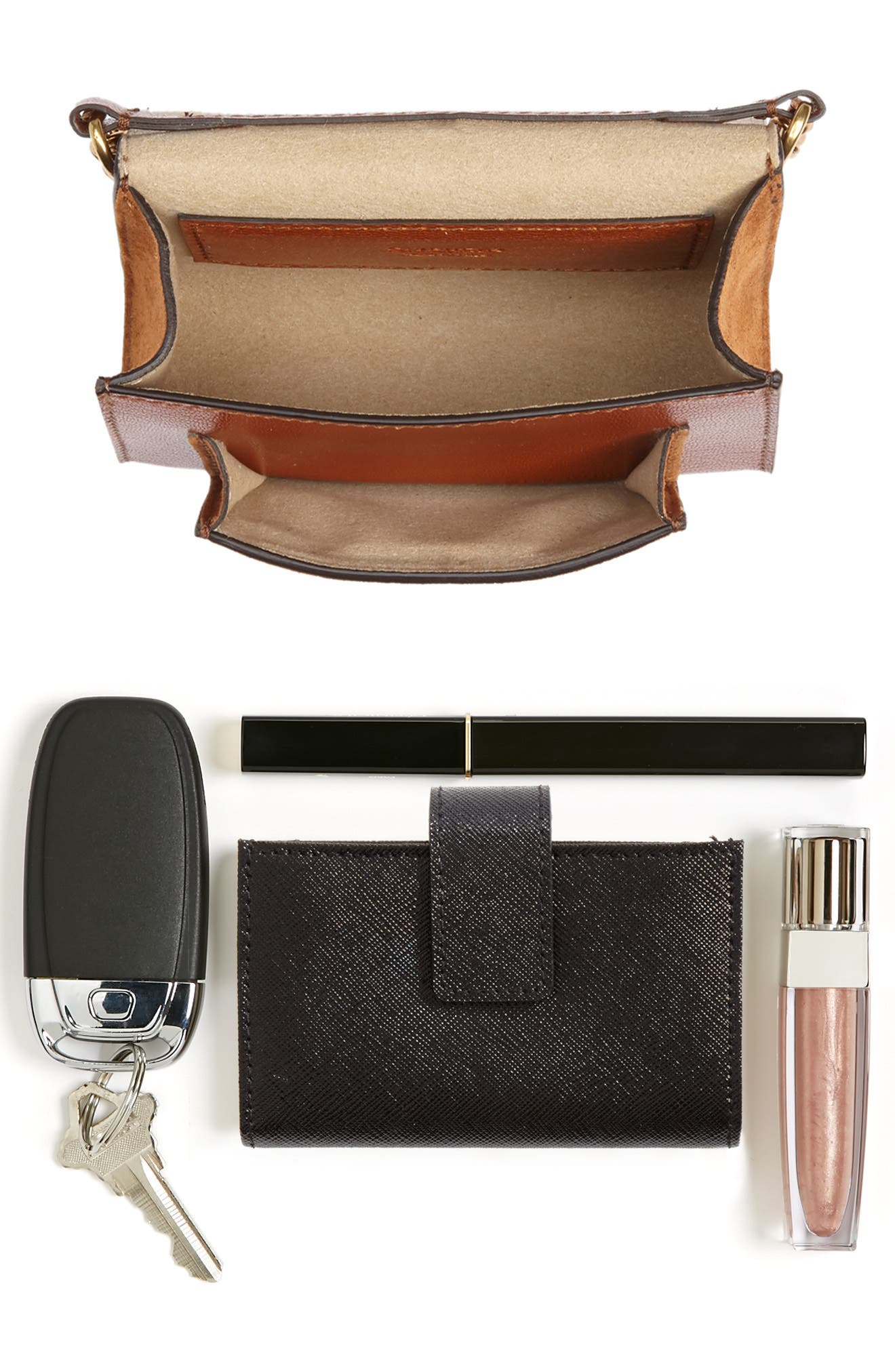 Givency Nano GV3 Leather & Suede Crossbody Bag,                             Alternate thumbnail 9, color,                             CHESTNUT