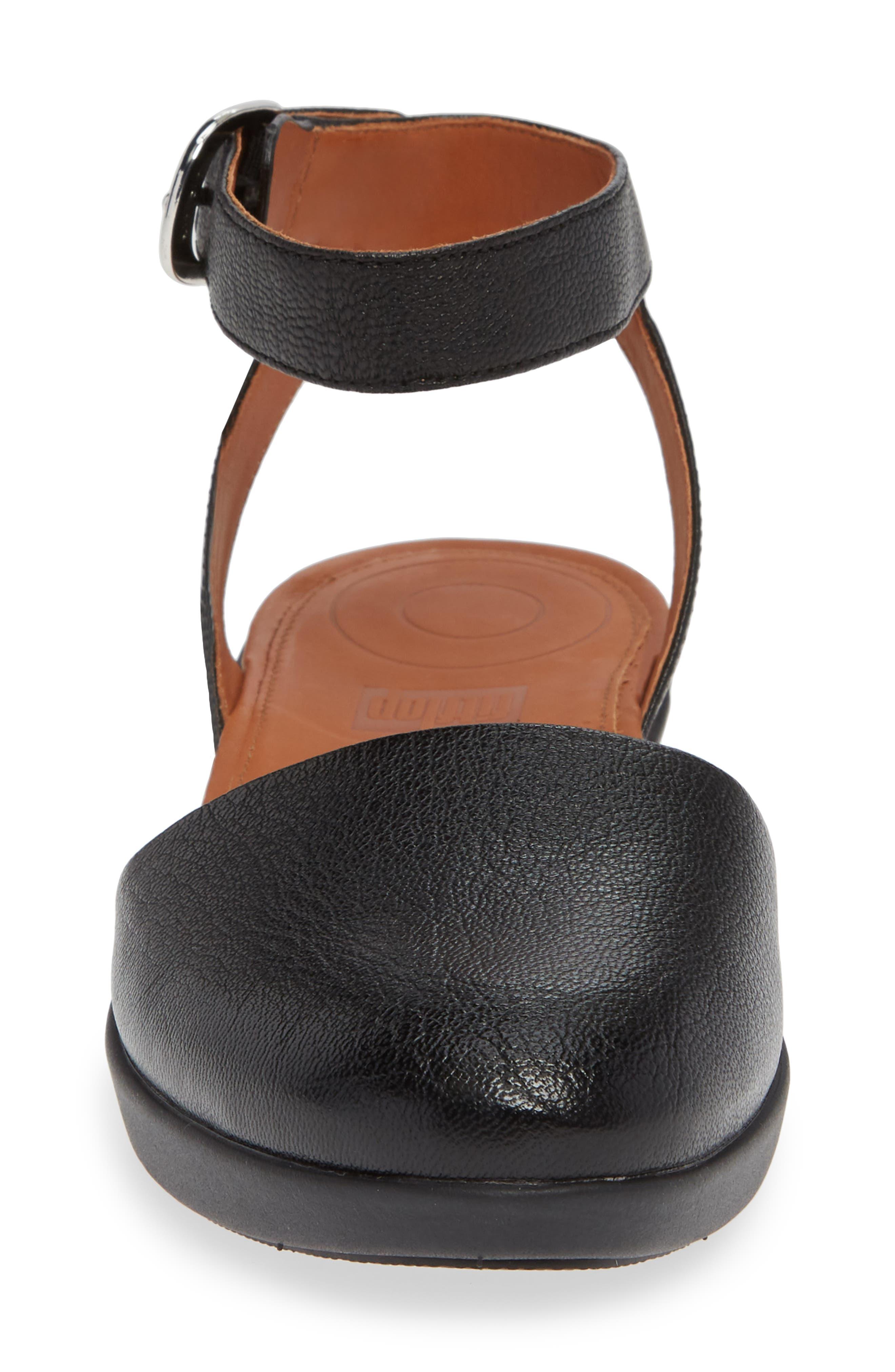 Cova Ankle Strap Sandal,                             Alternate thumbnail 4, color,                             BLACK LEATHER