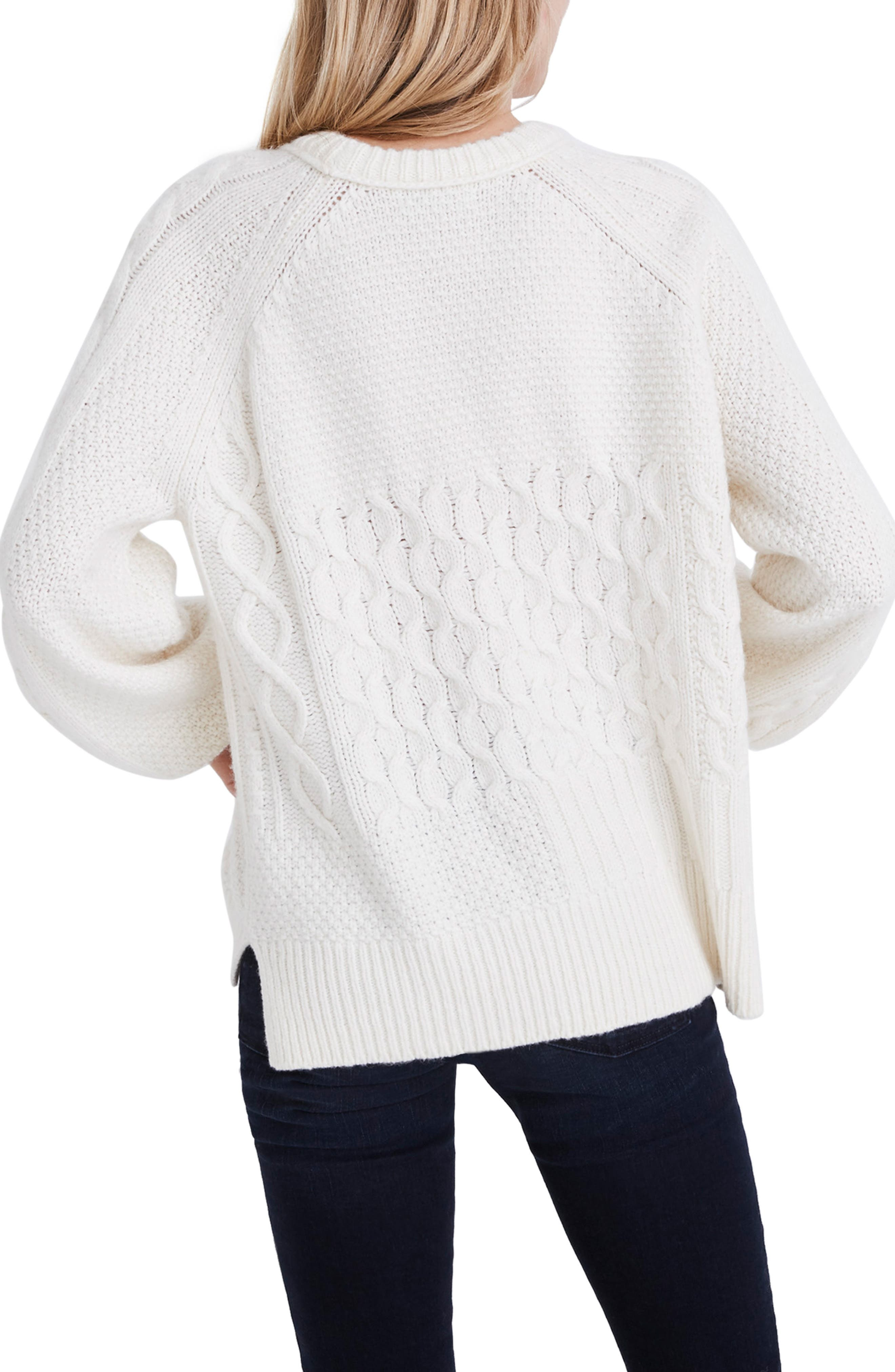 Copenhagen Cable Sweater,                             Alternate thumbnail 2, color,                             ANTIQUE CREAM
