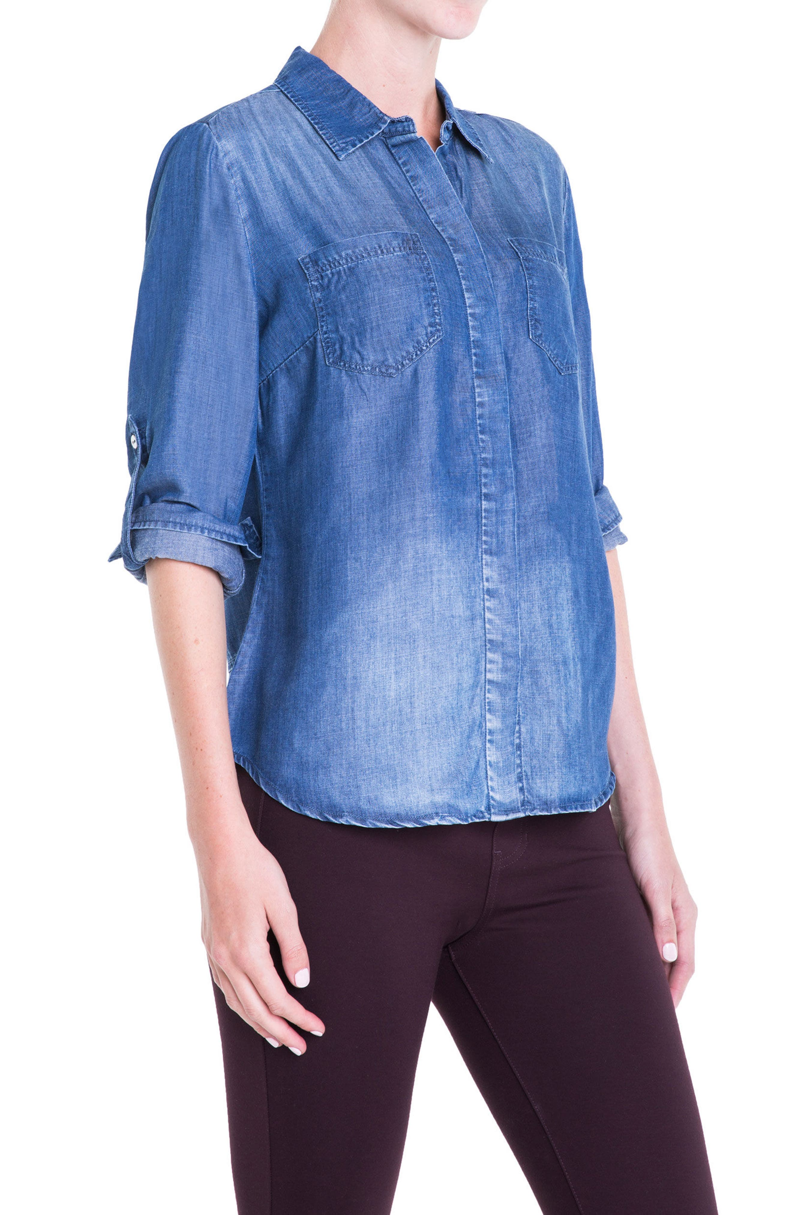 Button Back Chambray Shirt,                             Alternate thumbnail 6, color,