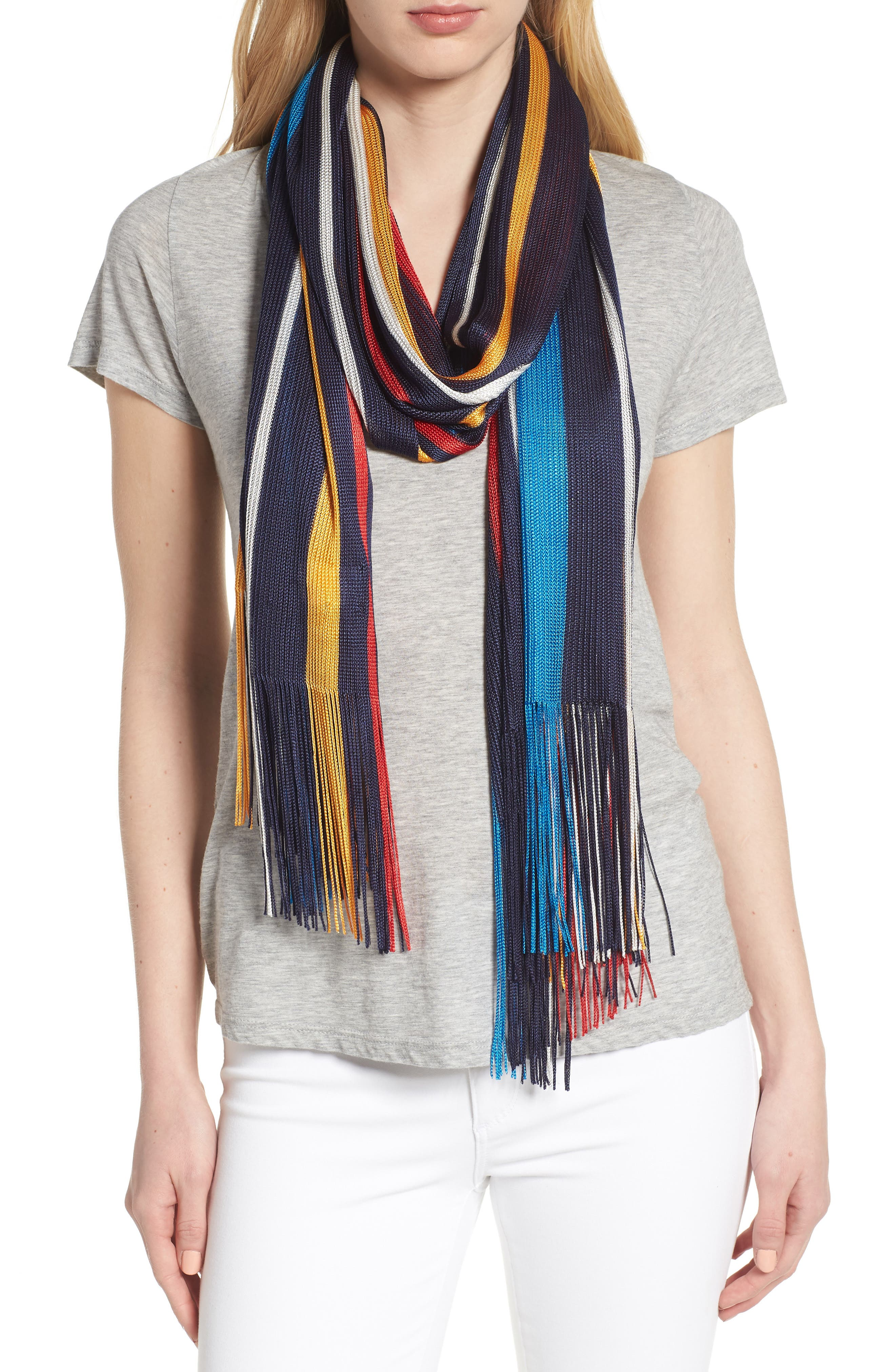 Cabana Stripe Silk Scarf,                         Main,                         color, 411