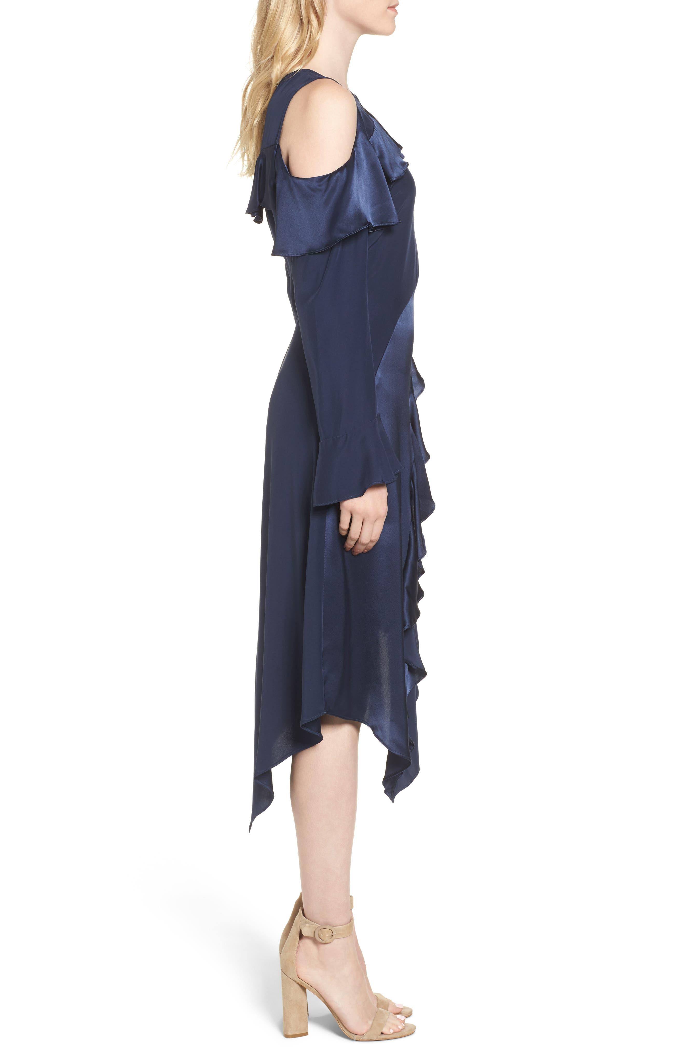 Nadeen Ruffle Cold Shoulder A-Line Dress,                             Alternate thumbnail 3, color,                             004