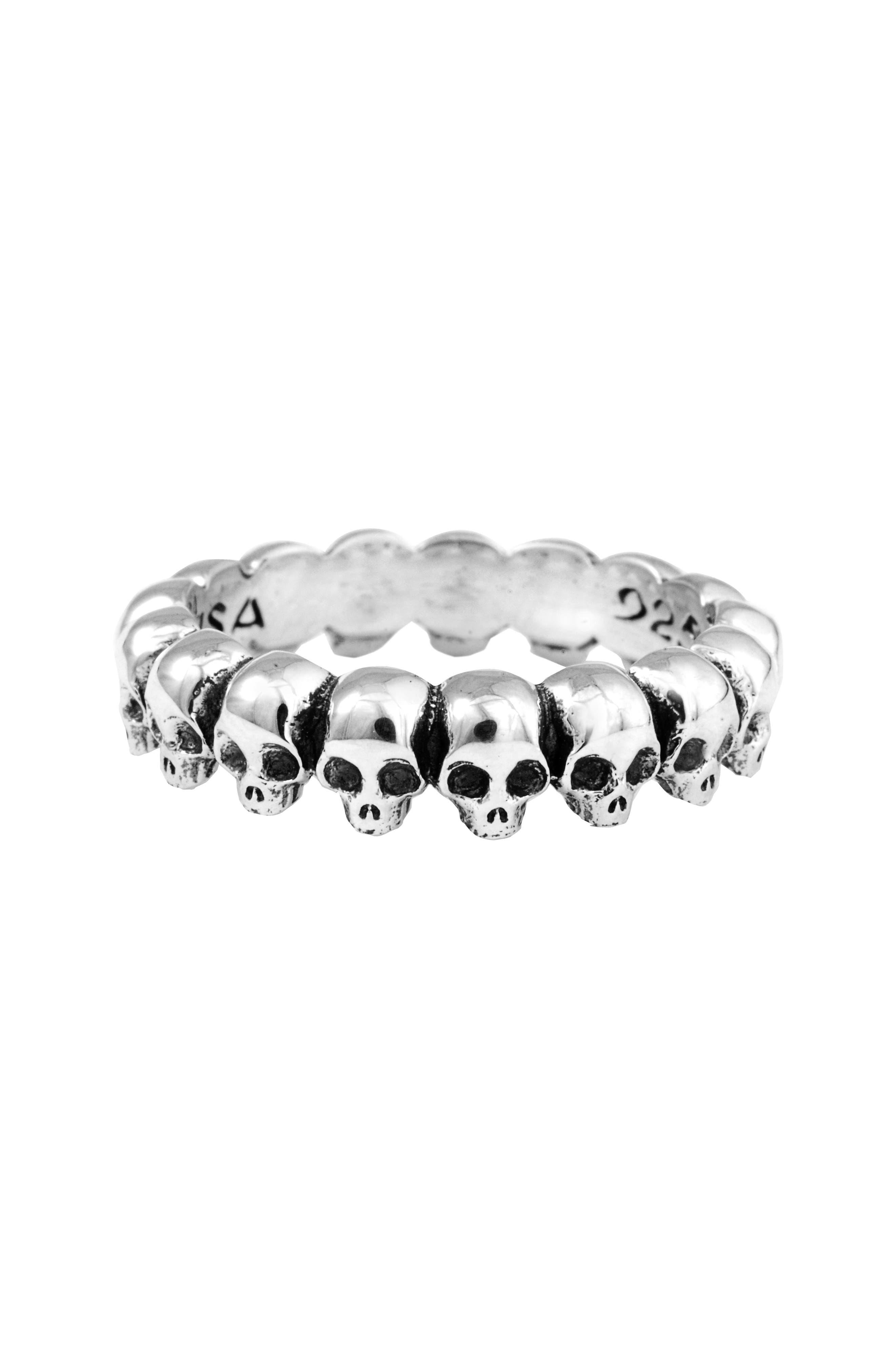 Skull Ring,                             Main thumbnail 1, color,                             SILVER