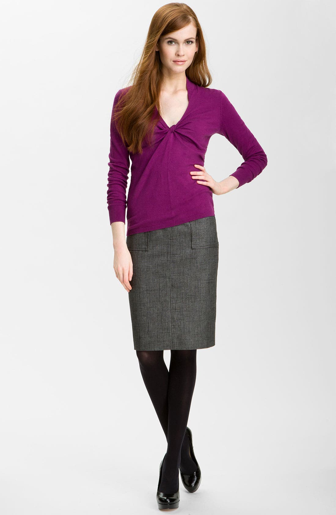 Patch Pocket Pencil Skirt,                             Alternate thumbnail 2, color,                             001