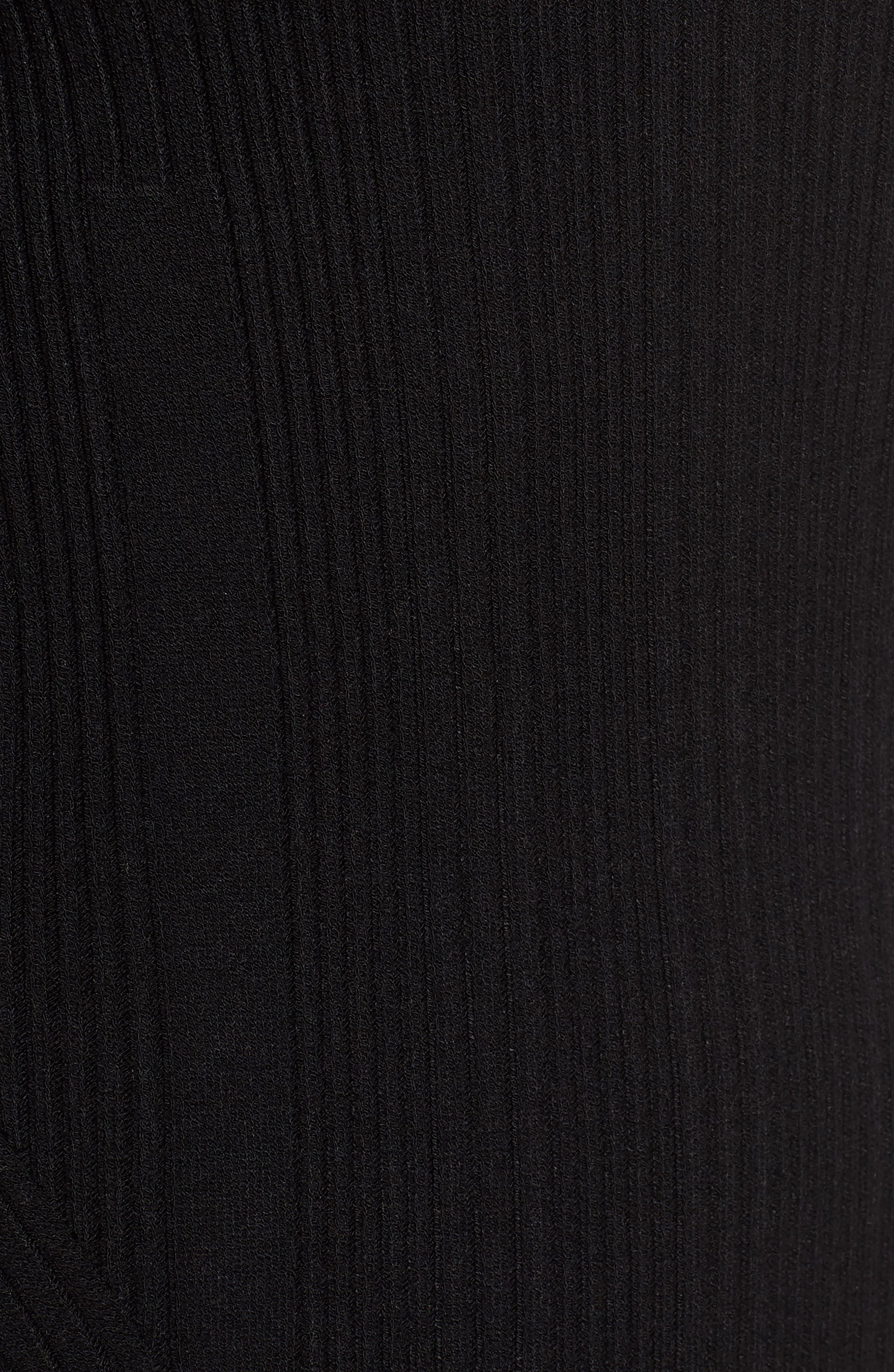 Ribbed Knit Midi Dress,                             Alternate thumbnail 5, color,                             001