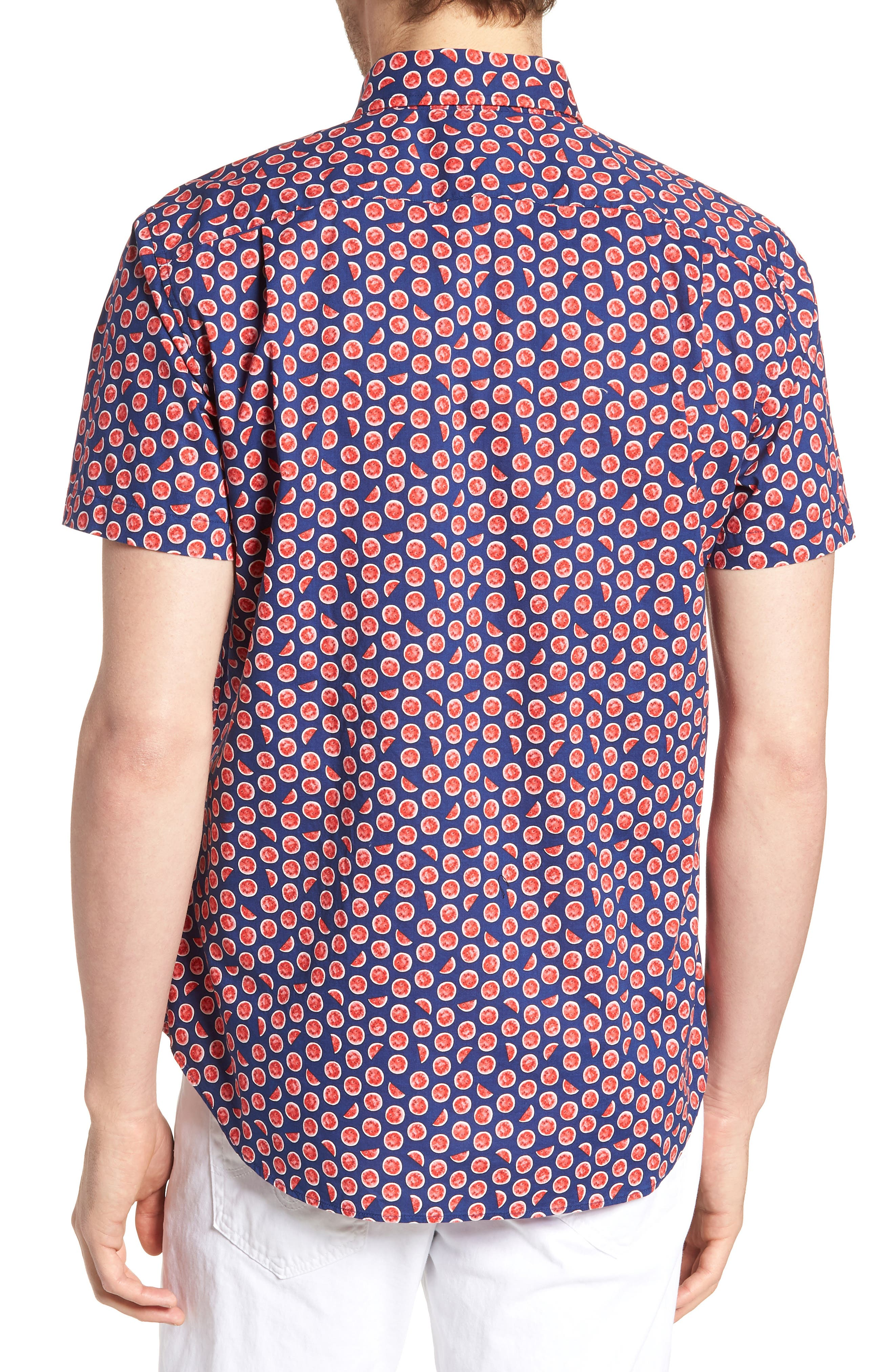 Riviera Slim Fit Watermelon Print Sport Shirt,                             Alternate thumbnail 2, color,                             WATERMELON - GOJI BERRY