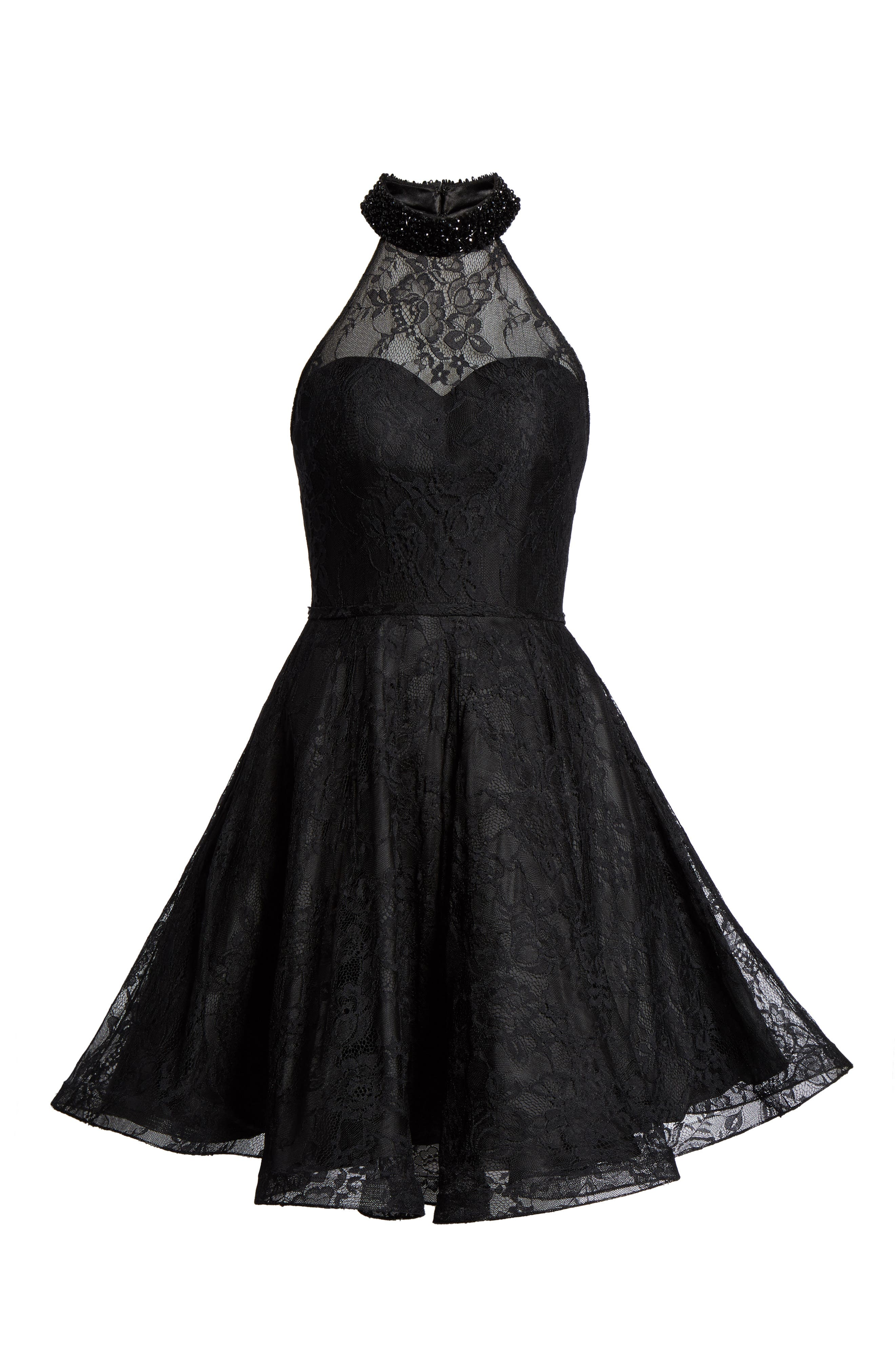 Beaded Lace Fit & Flare Dress,                             Alternate thumbnail 6, color,                             001