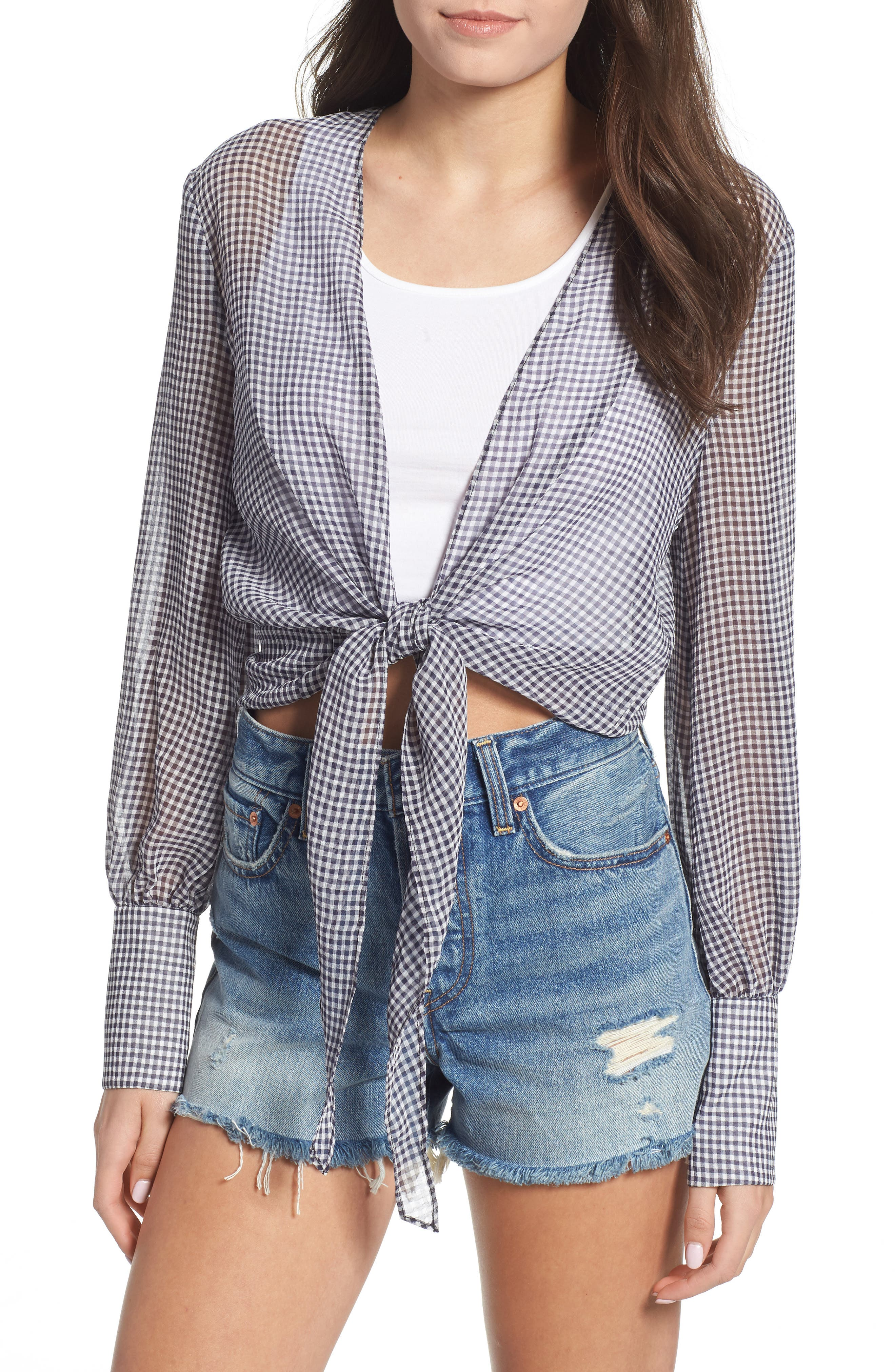Heather Tie Front Top,                         Main,                         color, MICRO NAVY CHECK
