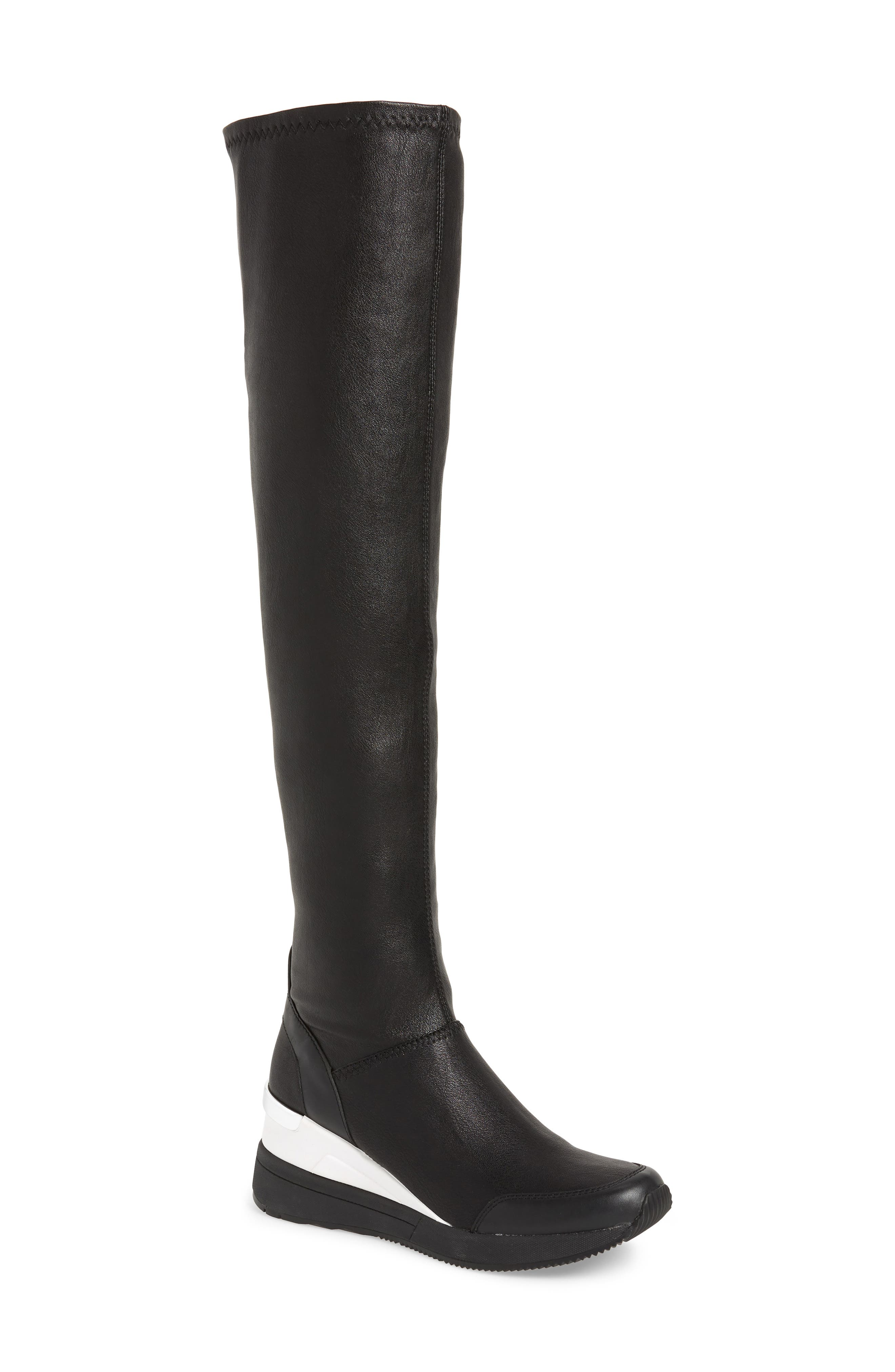 Tipton Wedge Over the Knee Rain Boot,                             Main thumbnail 1, color,                             BLACK FAUX LEATHER