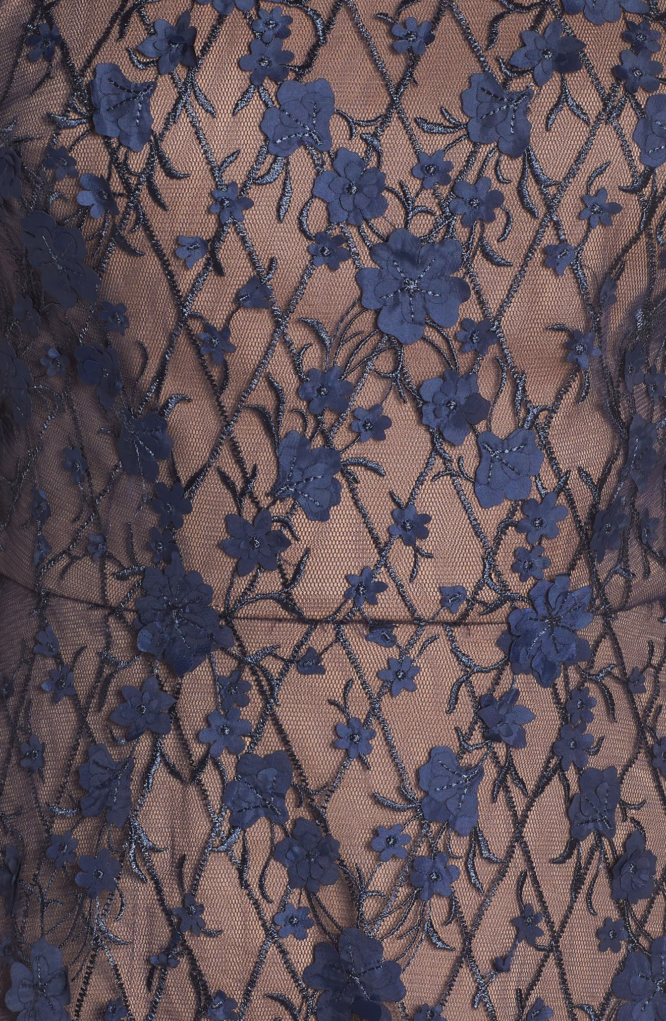 3D Flowers Lace Dress,                             Alternate thumbnail 5, color,                             MIDNIGHT/ NUDE