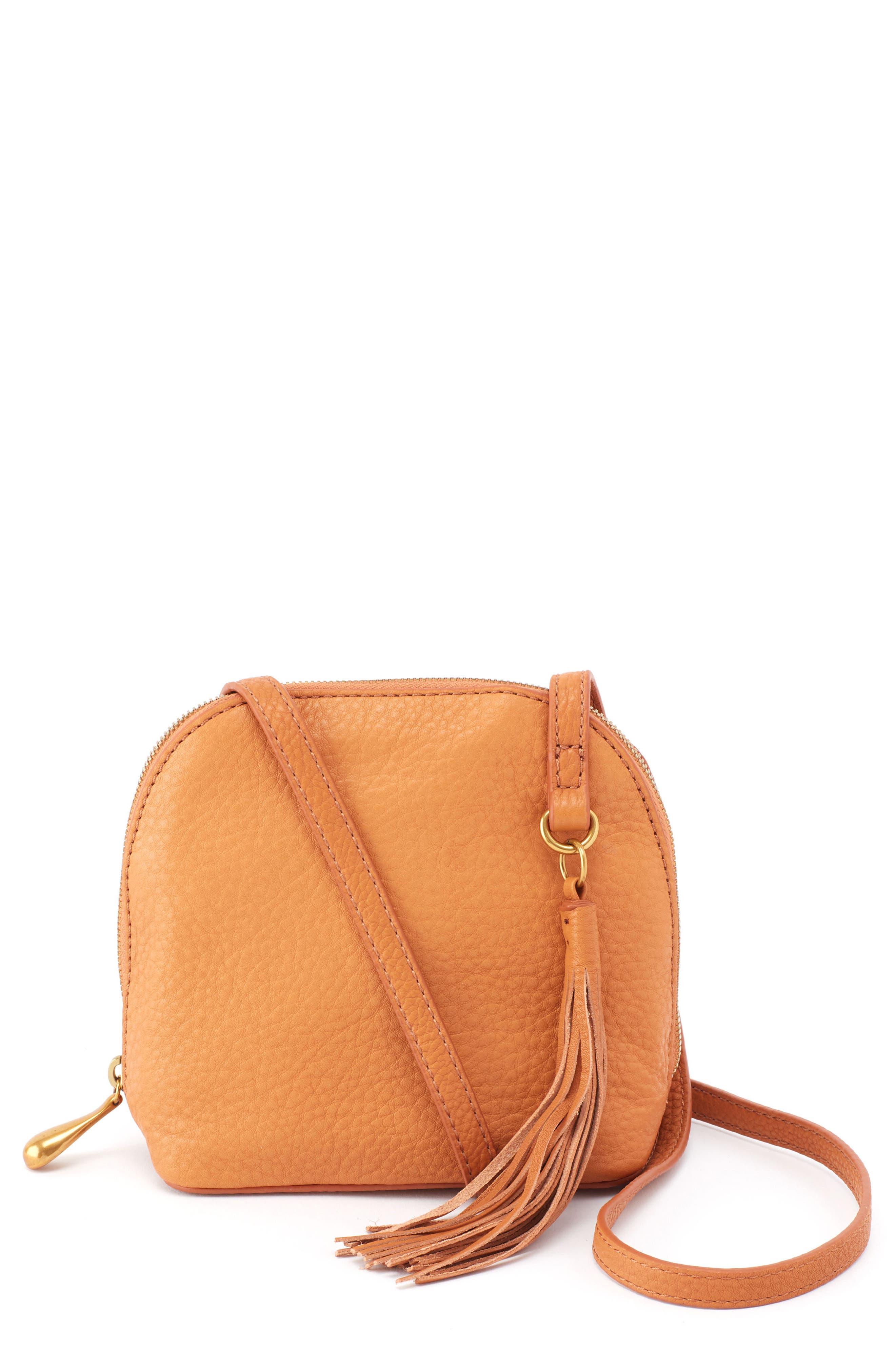 Nash Calfskin Leather Crossbody Bag,                             Main thumbnail 1, color,                             WHISKEY
