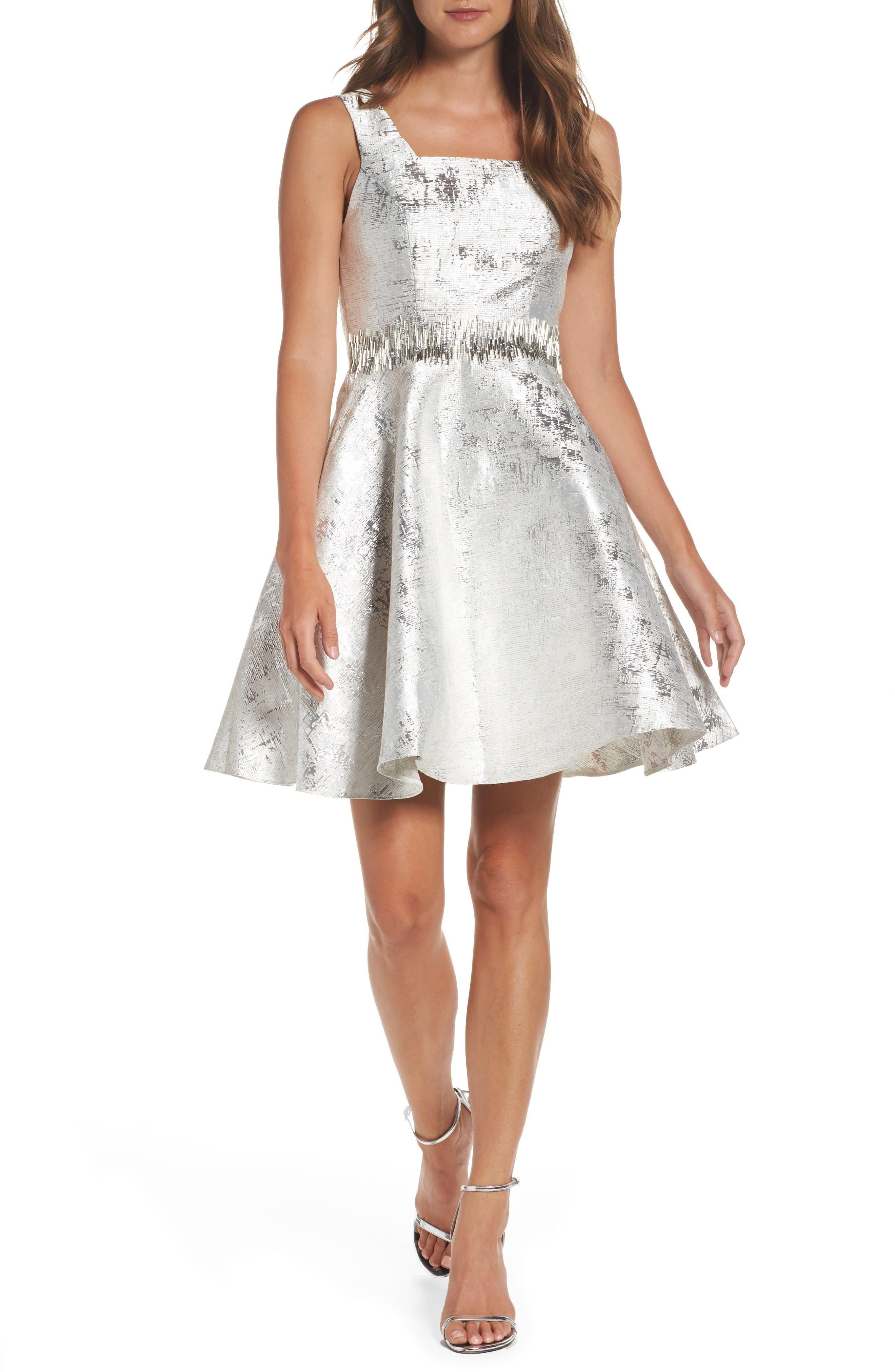 Embellished Metallic Fit & Flare Dress,                             Main thumbnail 1, color,                             044