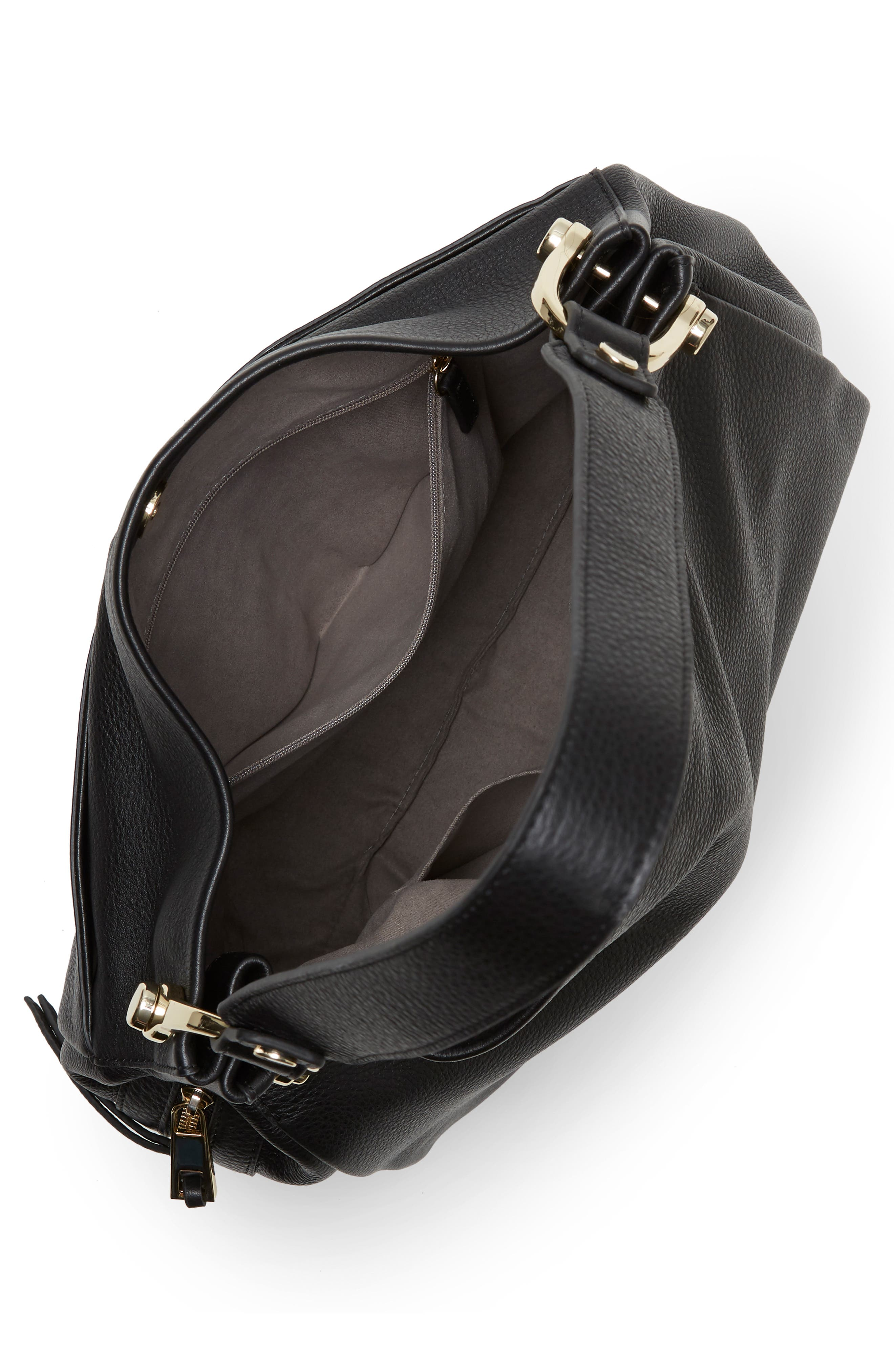Clem Leather Hobo Bag,                             Alternate thumbnail 3, color,                             001