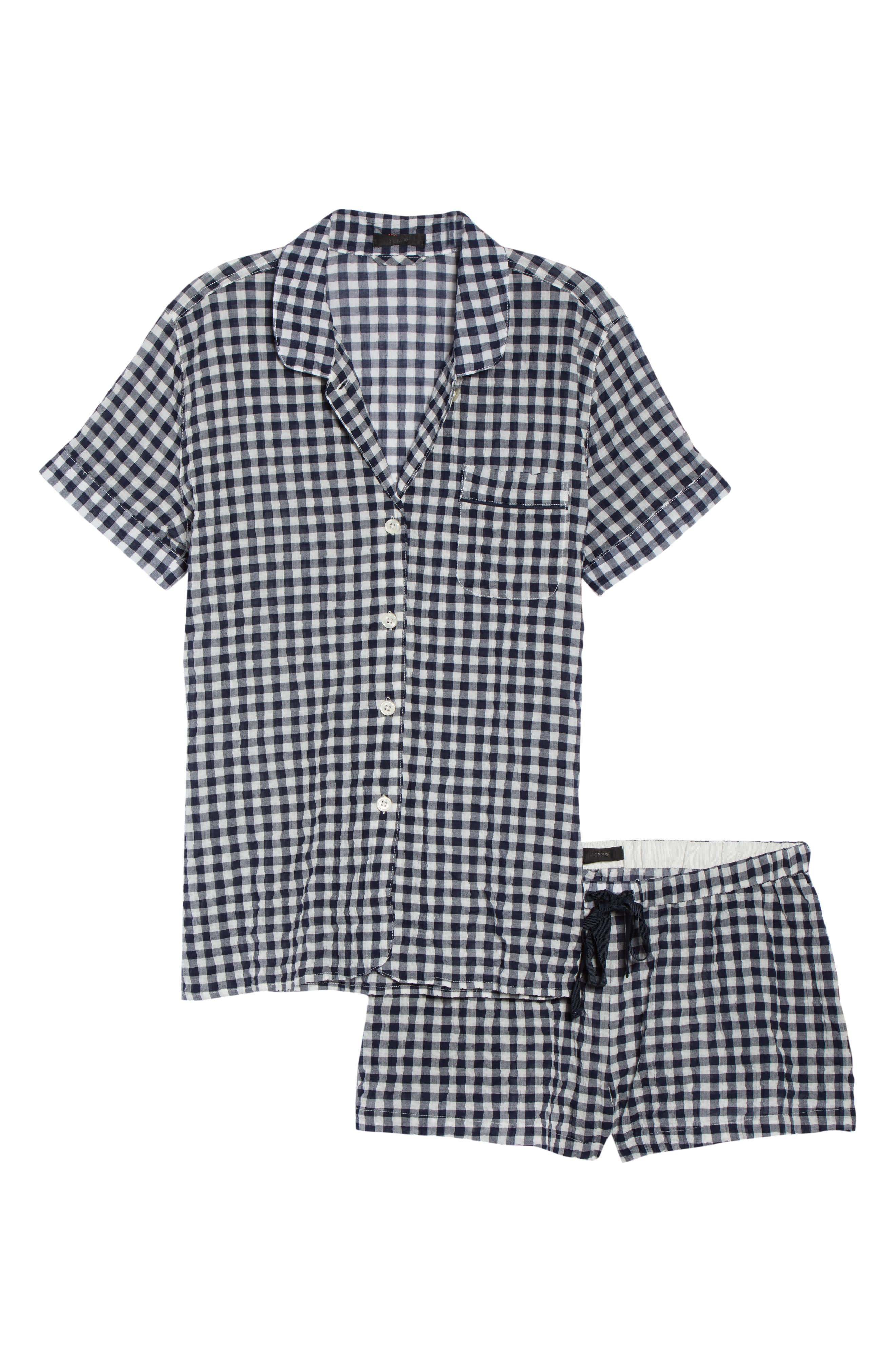 Gingham Pajama Set,                             Alternate thumbnail 7, color,                             IVORY/ NAVY