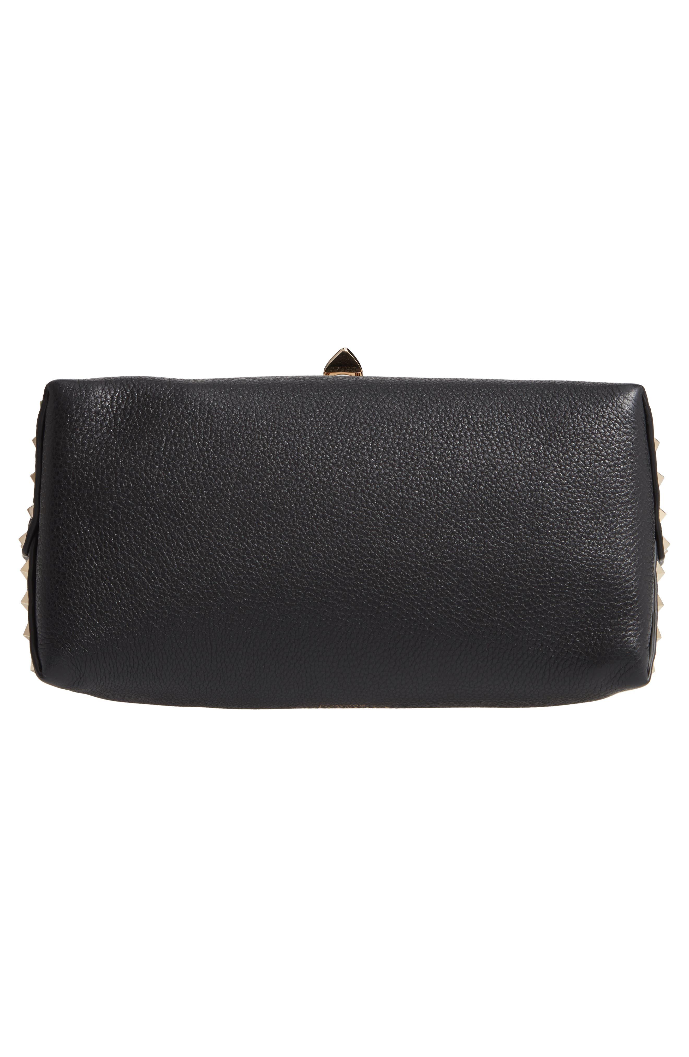 Rockstud Leather Top Handle Bag,                             Alternate thumbnail 6, color,                             NERO