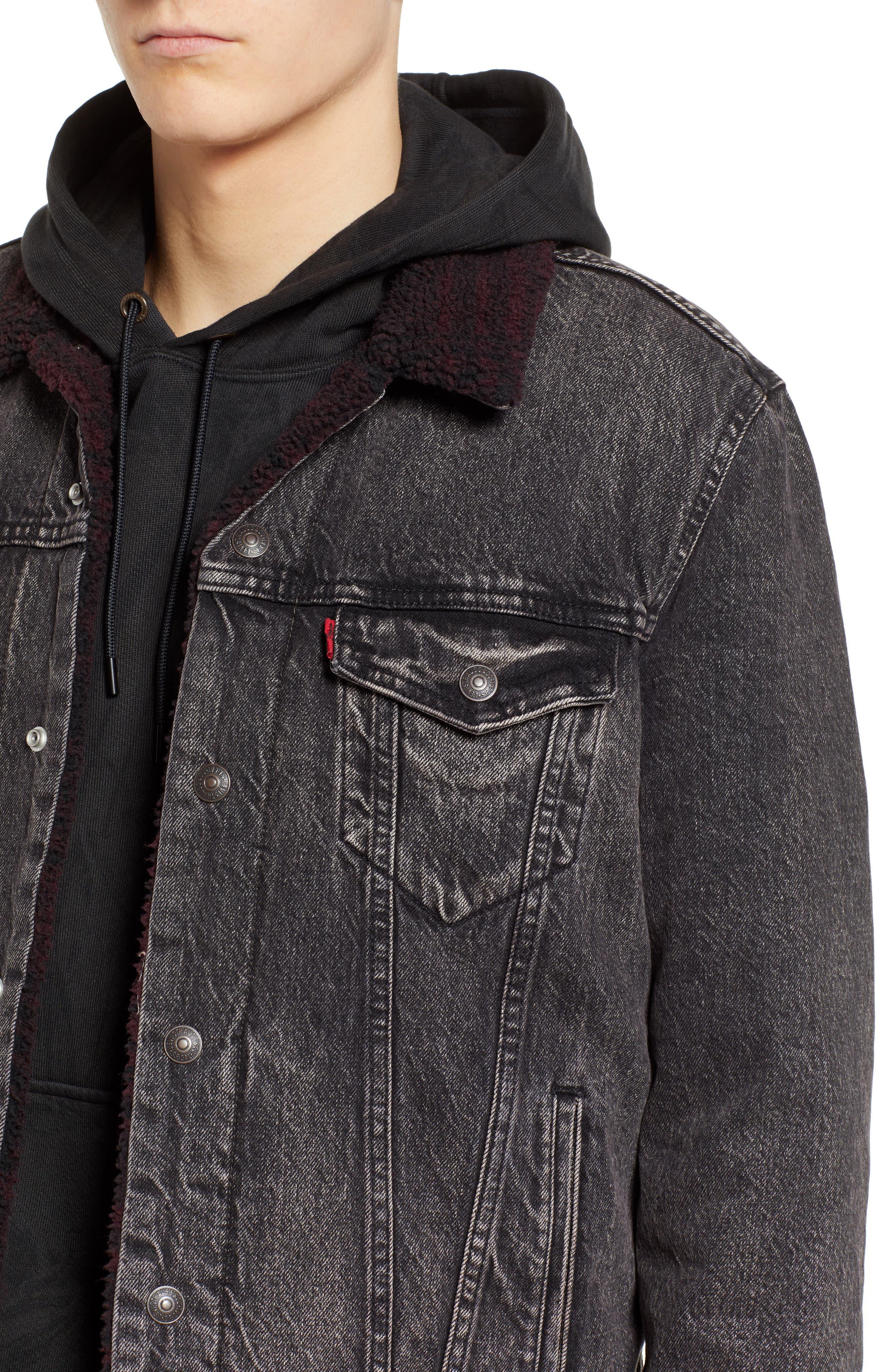 x Justin Timberlake Faux Shearling Collar Trucker Jacket,                             Alternate thumbnail 6, color,                             BRUSTED