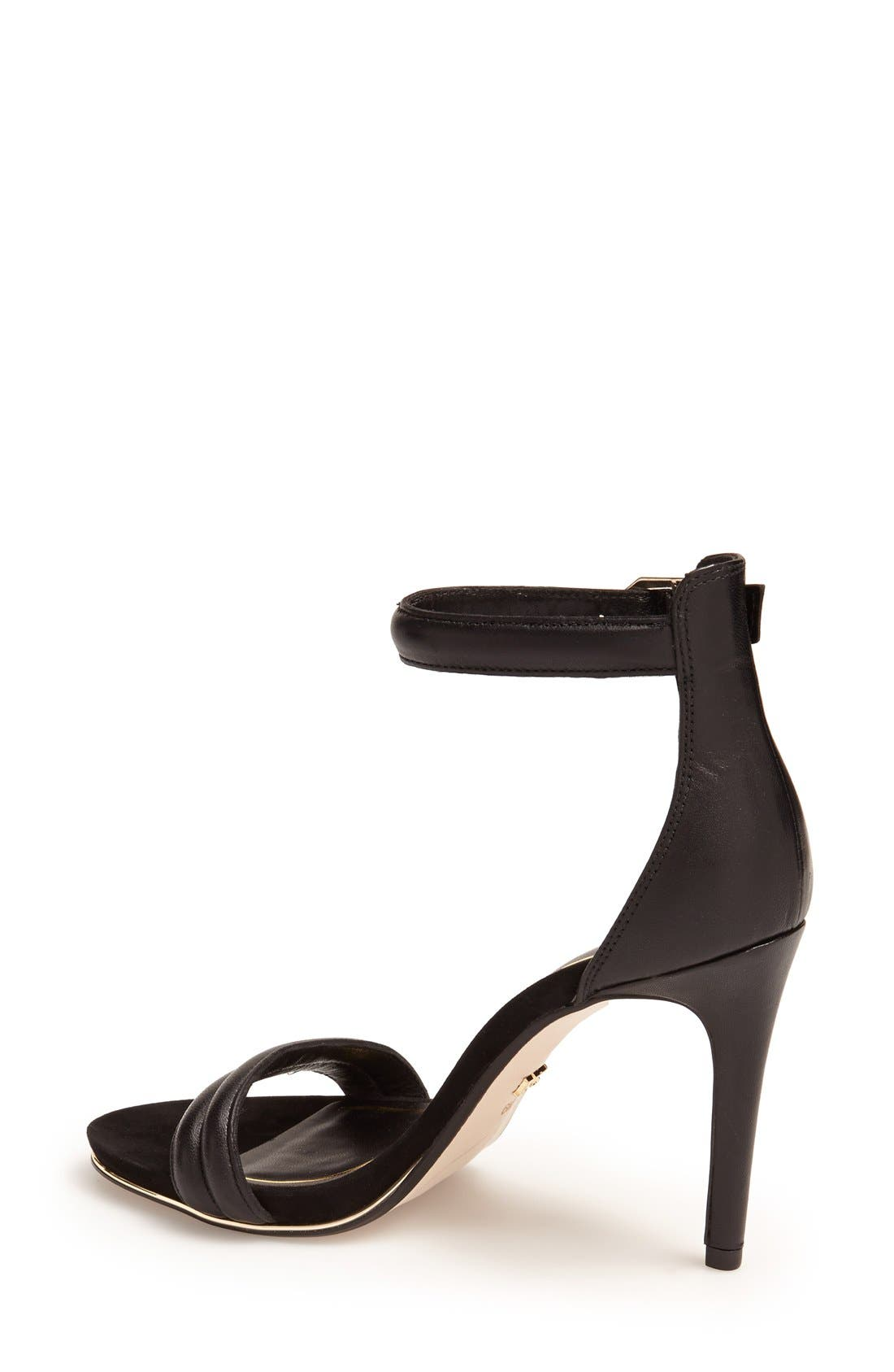 KENNETH COLE NEW YORK,                             'Brooke' Ankle Strap Sandal,                             Alternate thumbnail 4, color,                             BLACK LEATHER