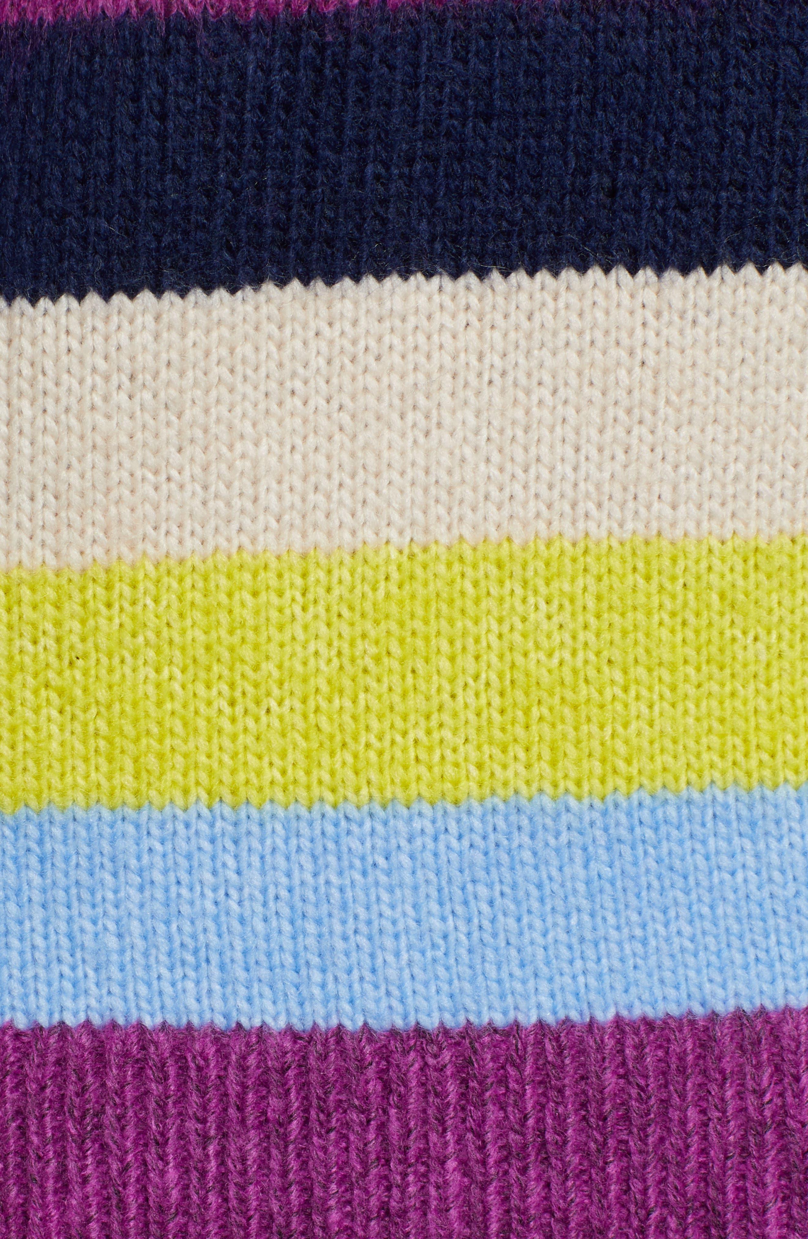 Bow Back Sweater,                             Alternate thumbnail 5, color,                             NAVY MULTI STRIPE