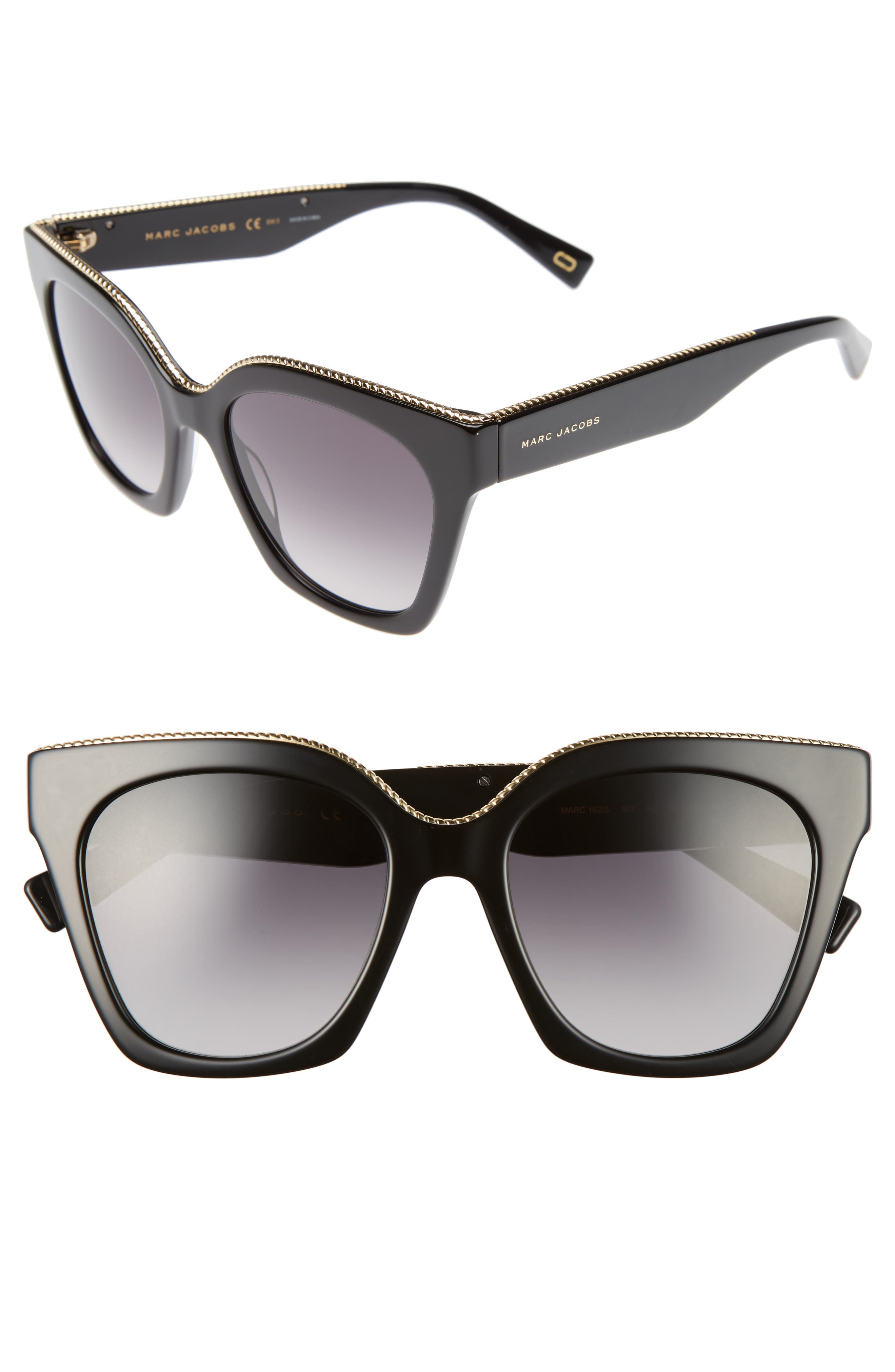 52mm Square Sunglasses,                             Main thumbnail 1, color,                             001