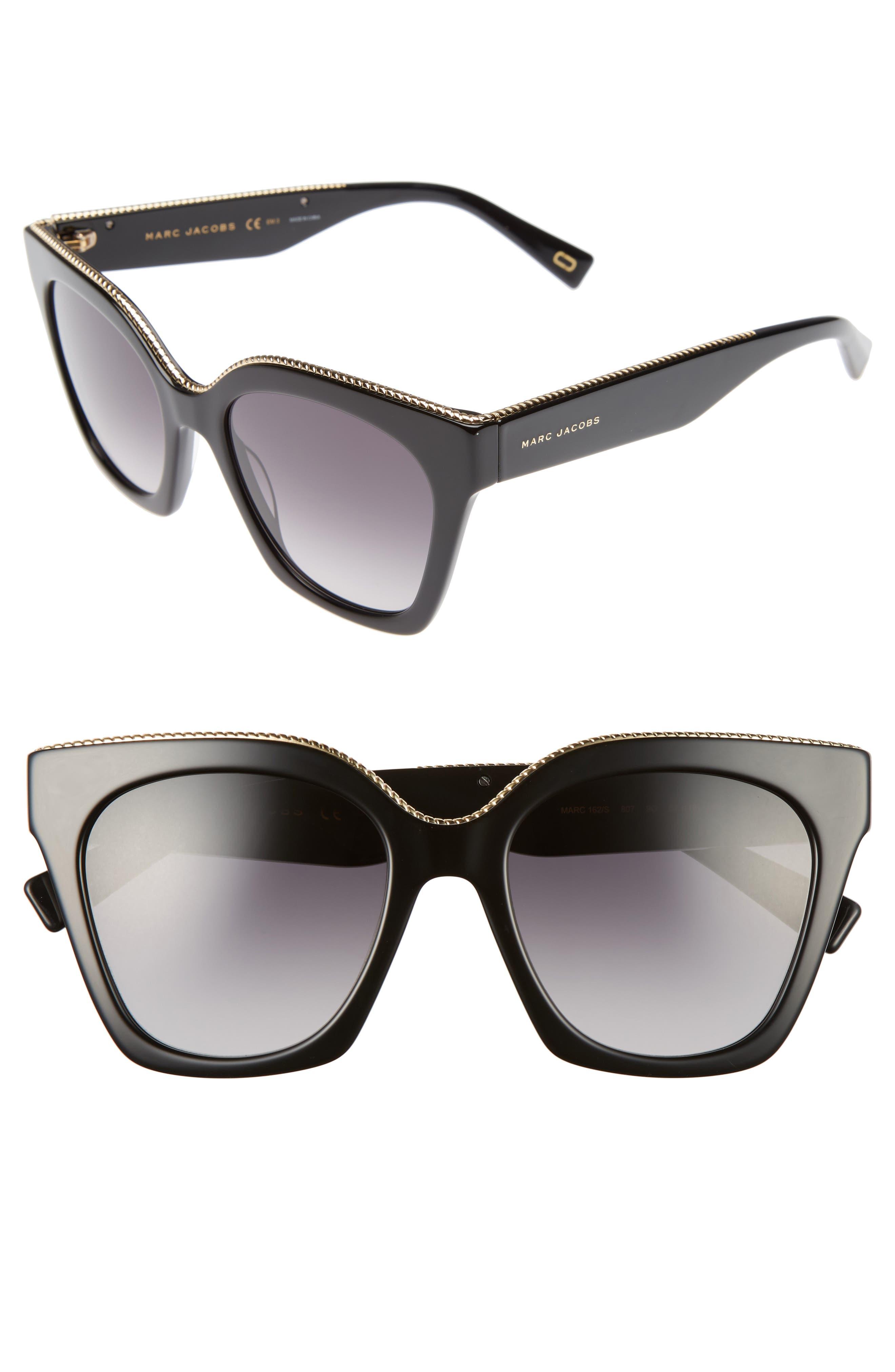 52mm Square Sunglasses,                         Main,                         color, 001