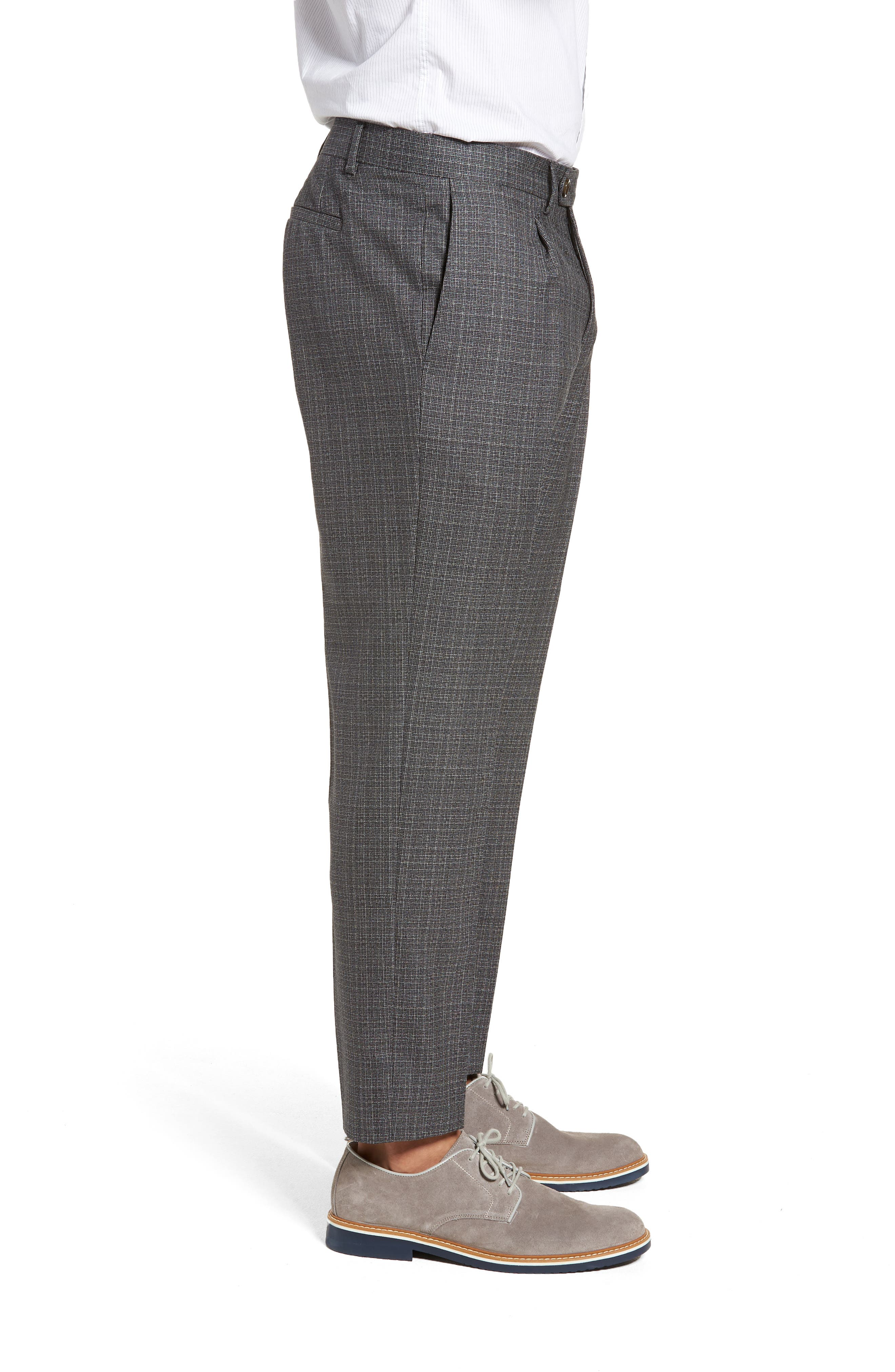 Pleated Check Wool Trousers,                             Alternate thumbnail 3, color,