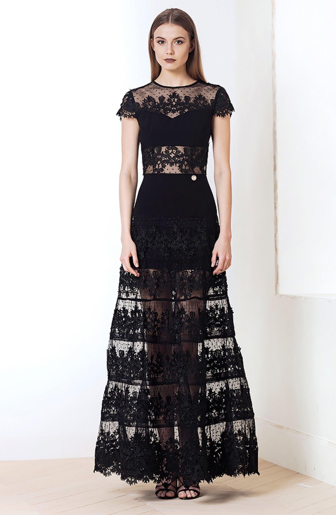 Flamenco Lace Inset Gown,                             Main thumbnail 1, color,                             001