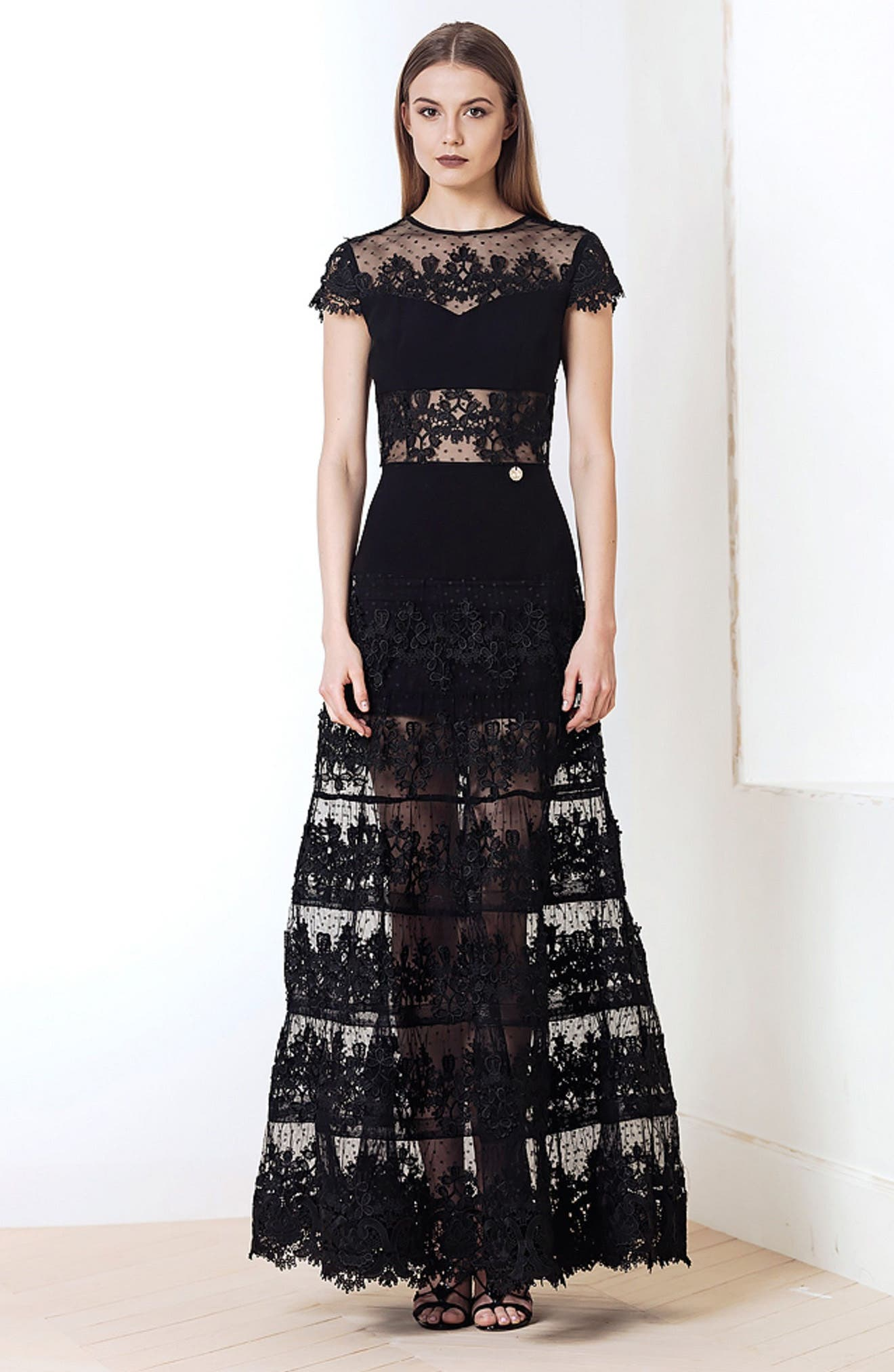 Flamenco Lace Inset Gown,                         Main,                         color, 001
