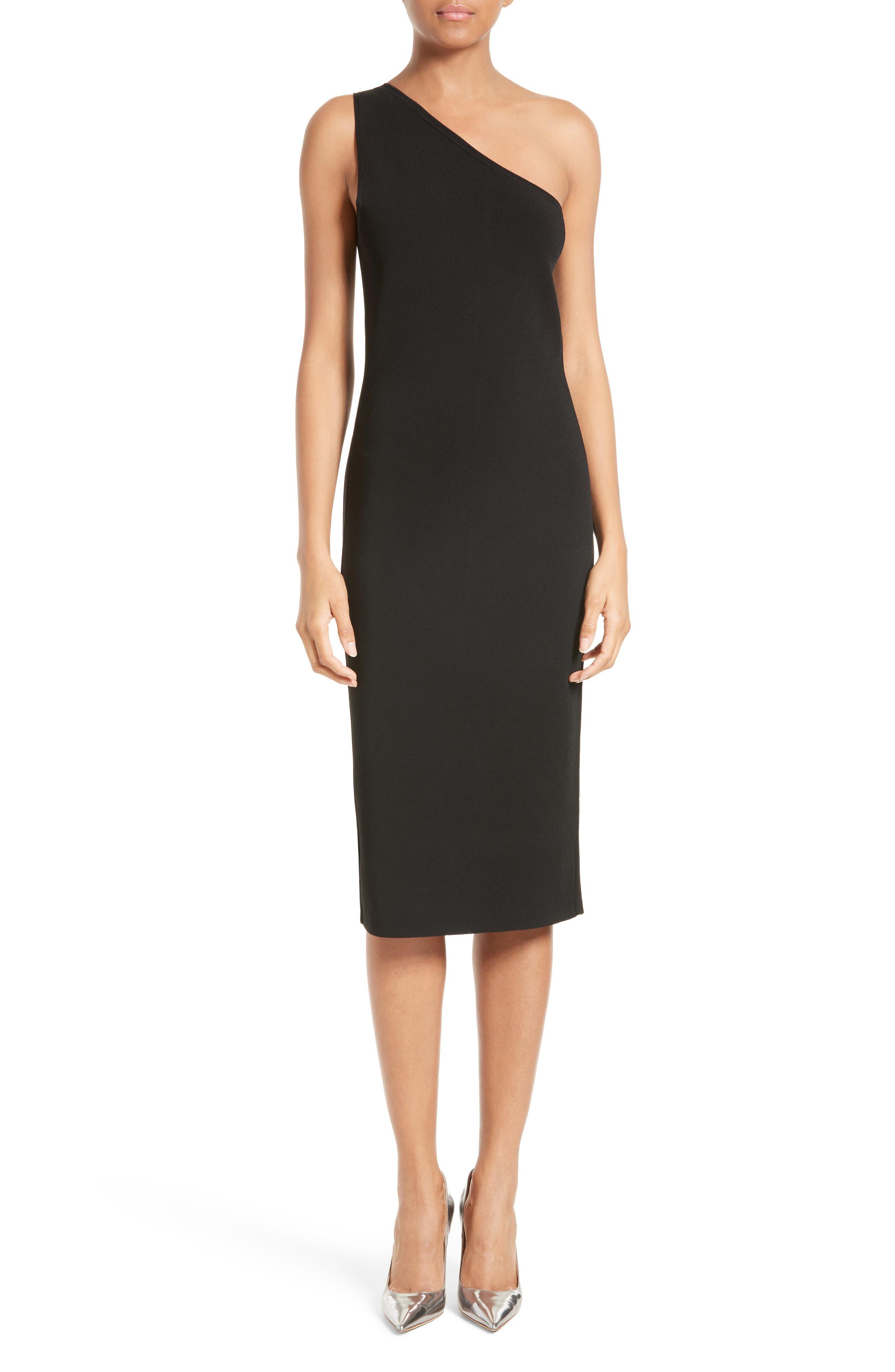 One-Shoulder Knit Dress,                         Main,                         color,