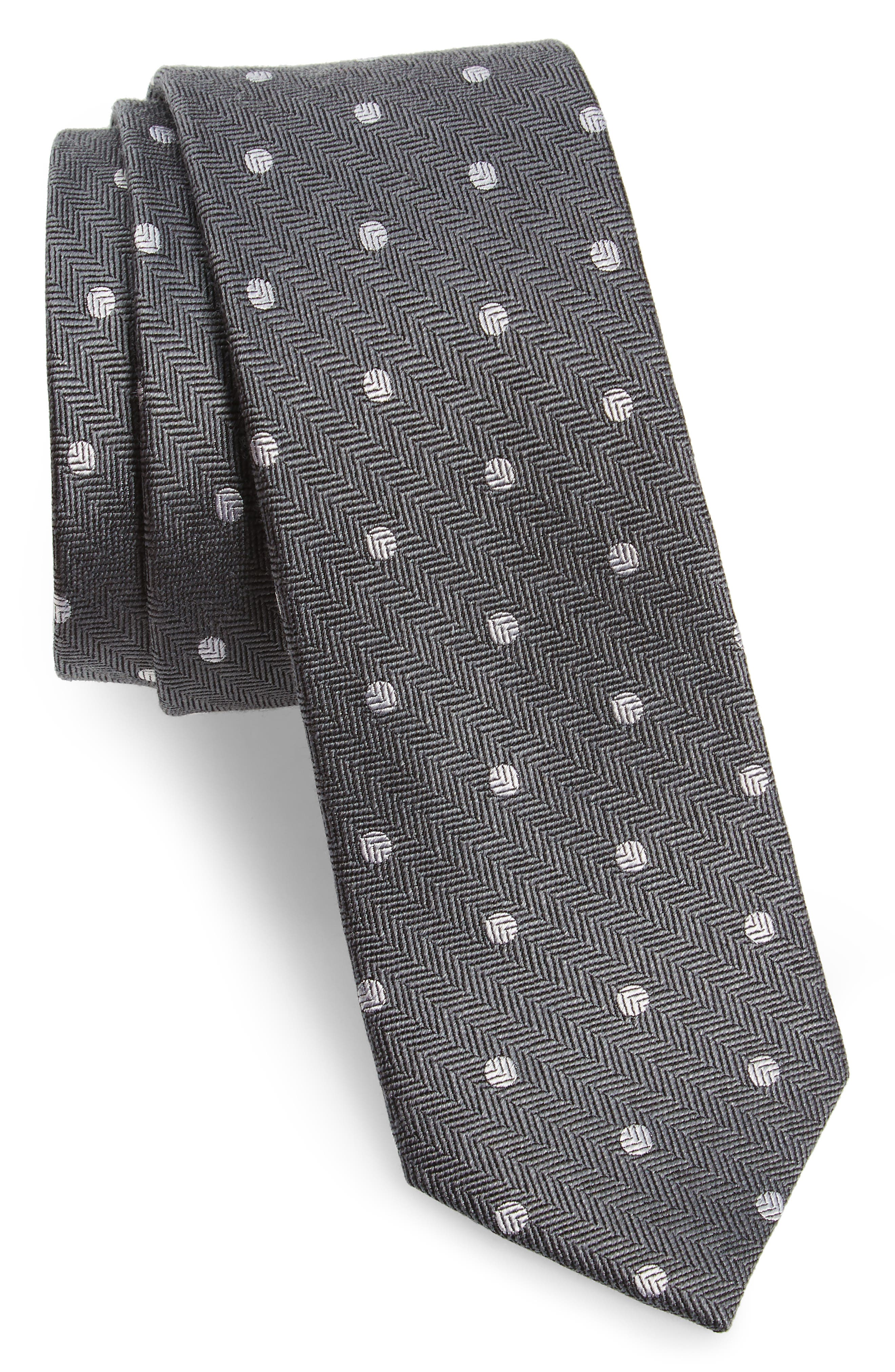 Dotted Hitch Silk & Wool Skinny Tie,                             Main thumbnail 1, color,                             030