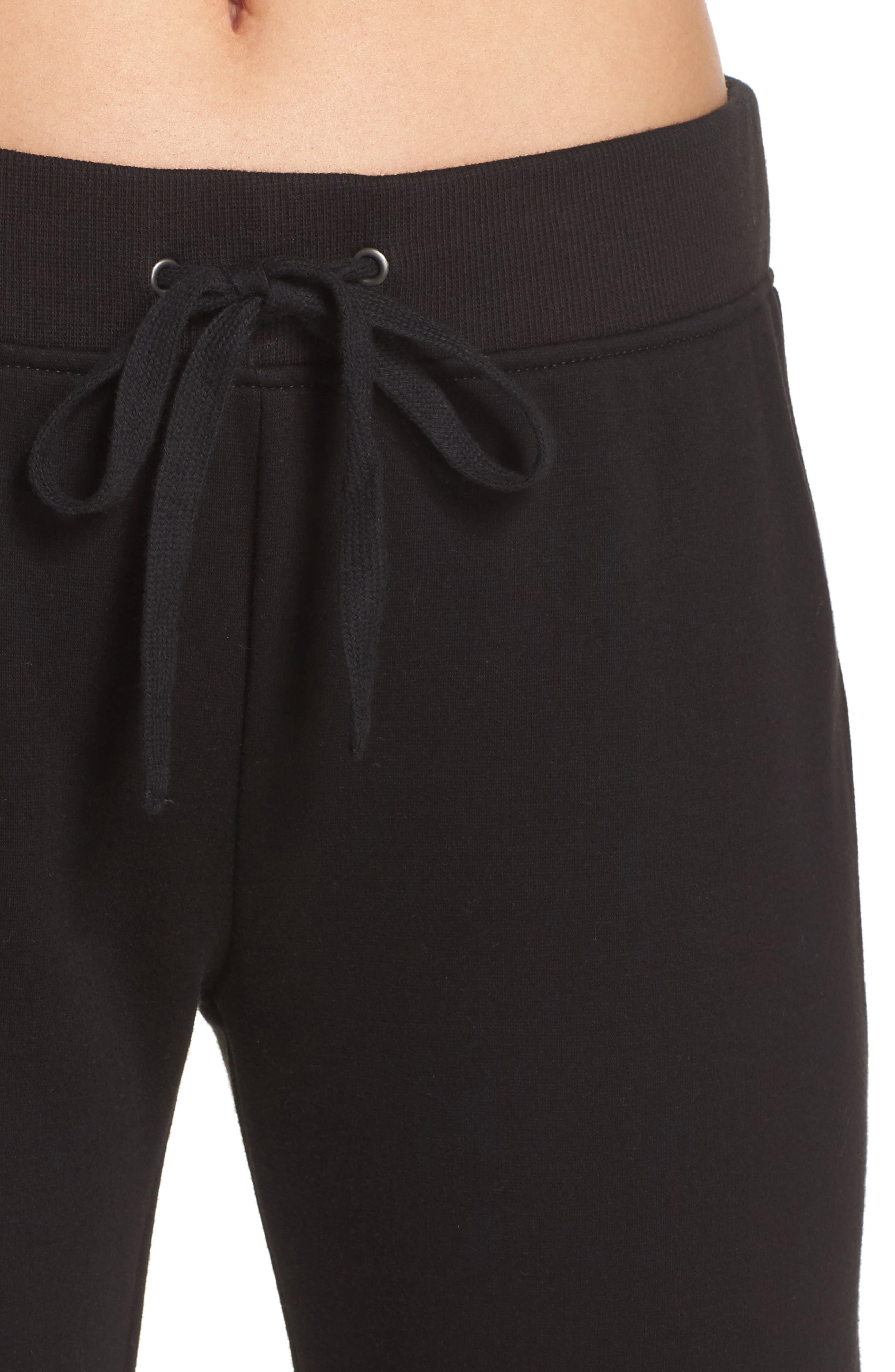 Penny Fleece Pants,                             Alternate thumbnail 4, color,                             BLACK