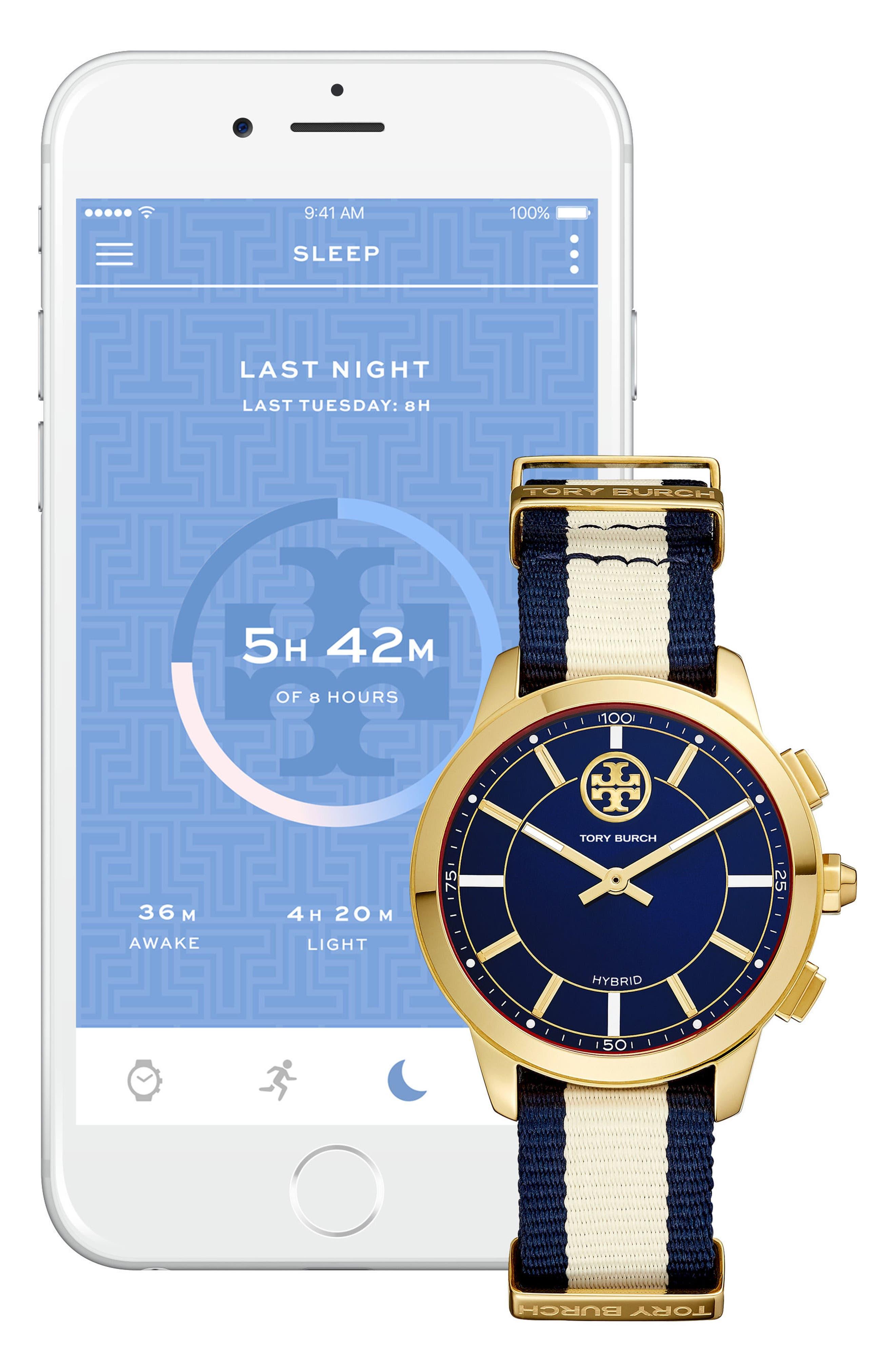 Collins Hybrid Nylon Strap Watch, 38mm,                             Alternate thumbnail 3, color,                             CREAM/ NAVY/ GOLD