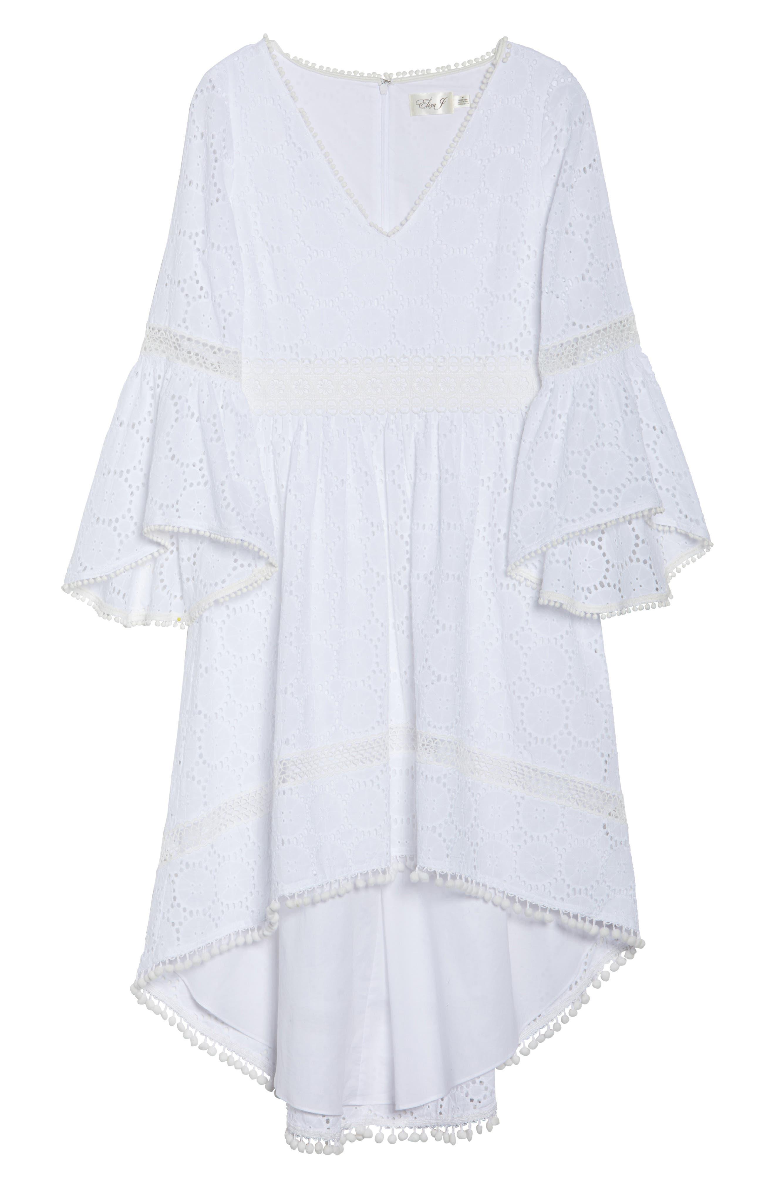 Bell Sleeve High/Low Eyelet Dress,                             Alternate thumbnail 7, color,                             112