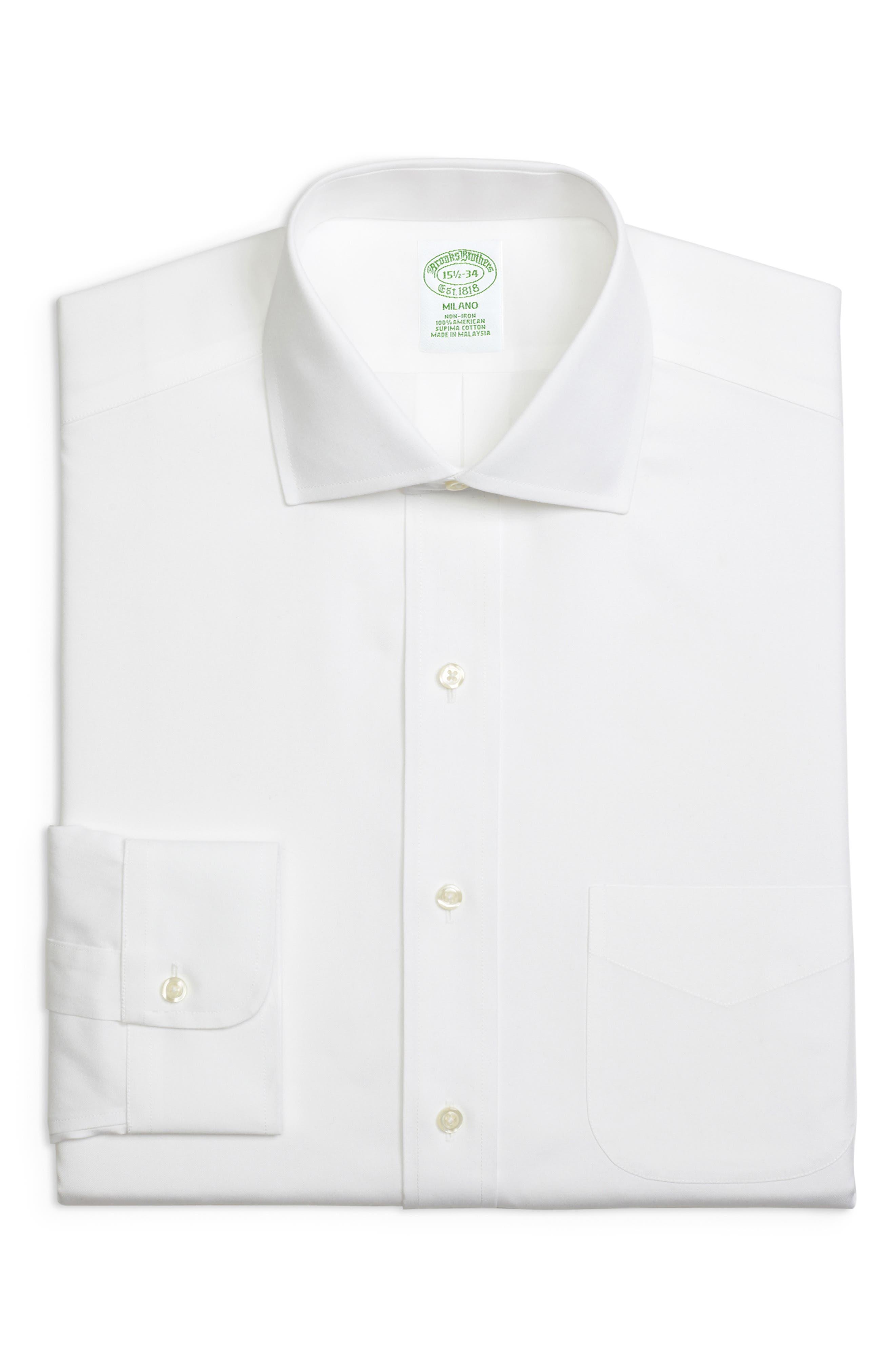 Trim Fit Solid Dress Shirt,                             Main thumbnail 1, color,                             WHITE