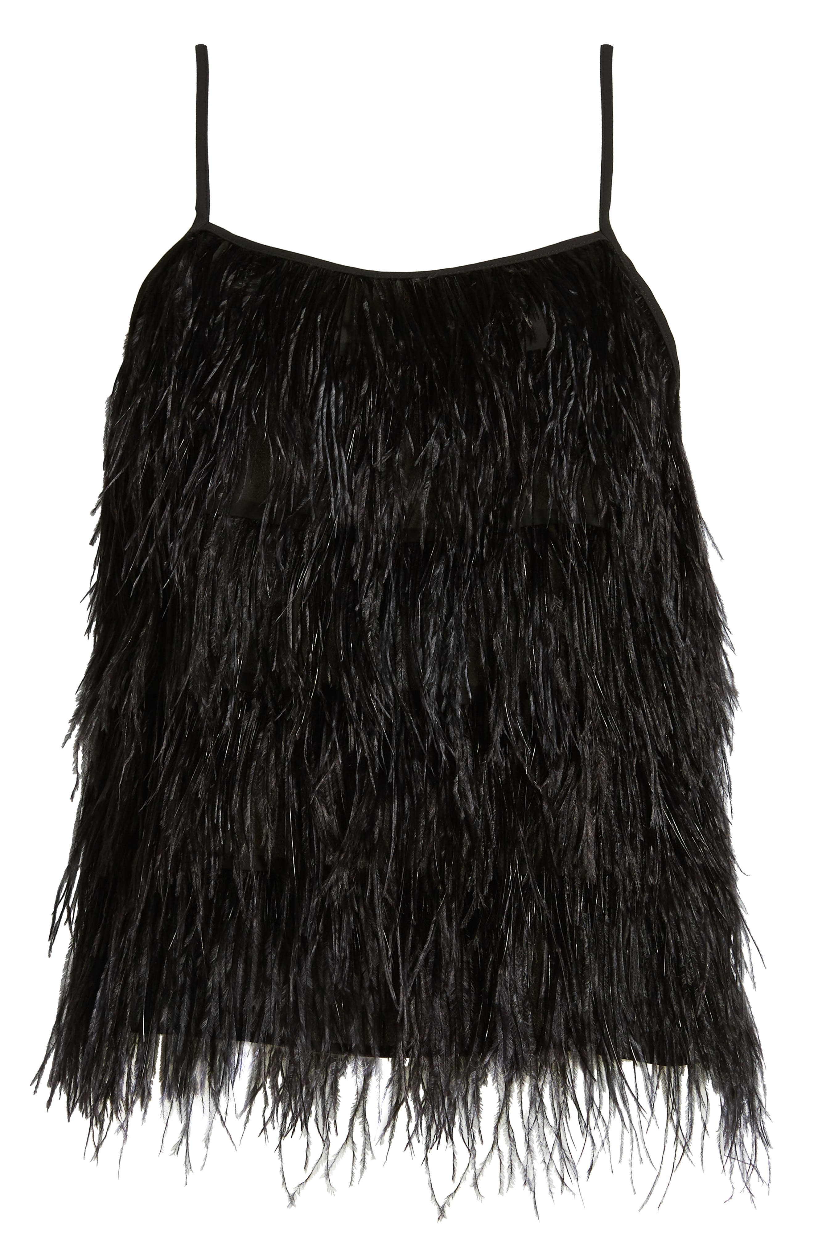 Feather Camisole,                             Alternate thumbnail 6, color,                             BLACK