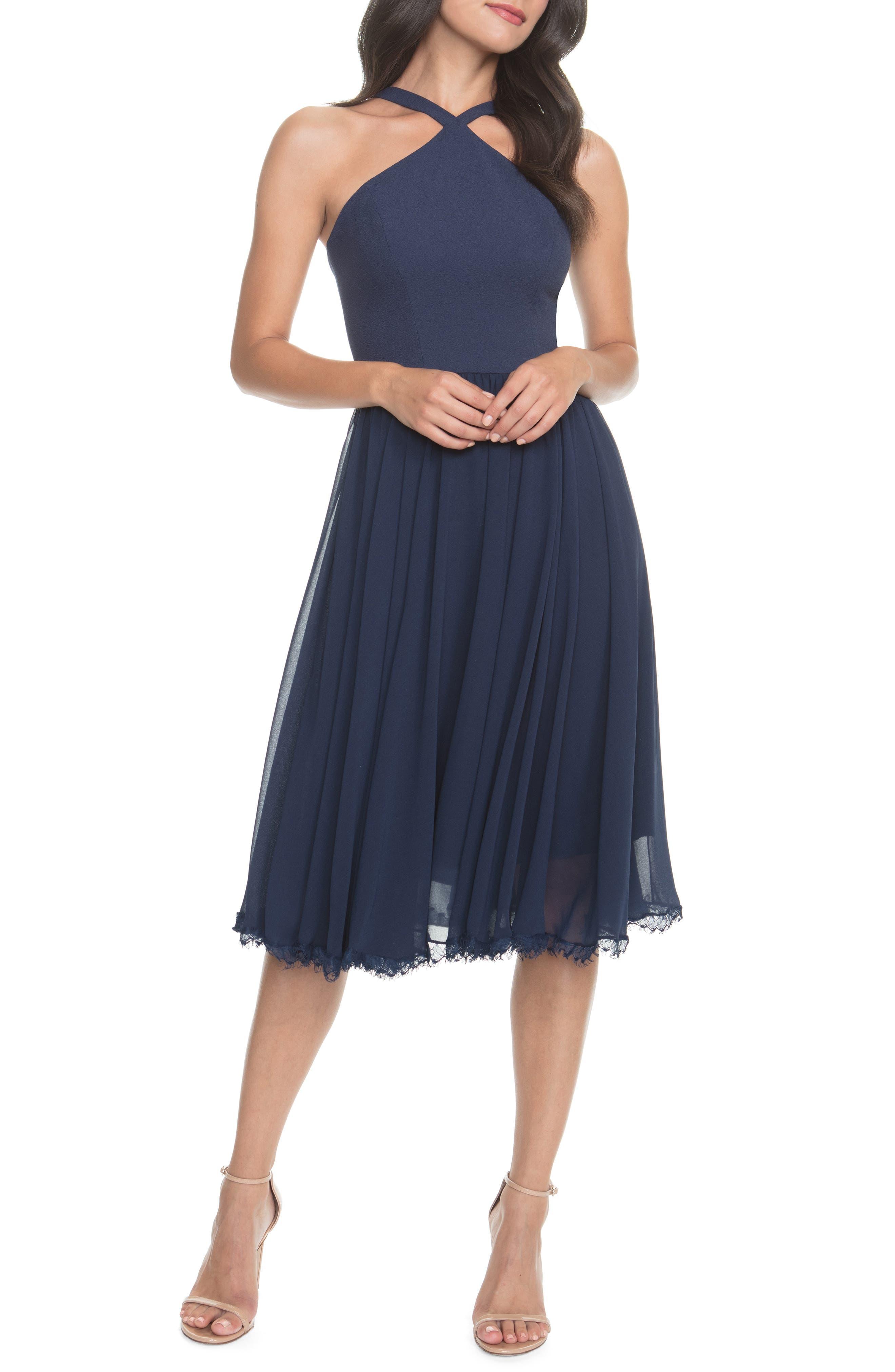 Dress The Population Dakota Crepe Chiffon Cocktail Dress, Blue