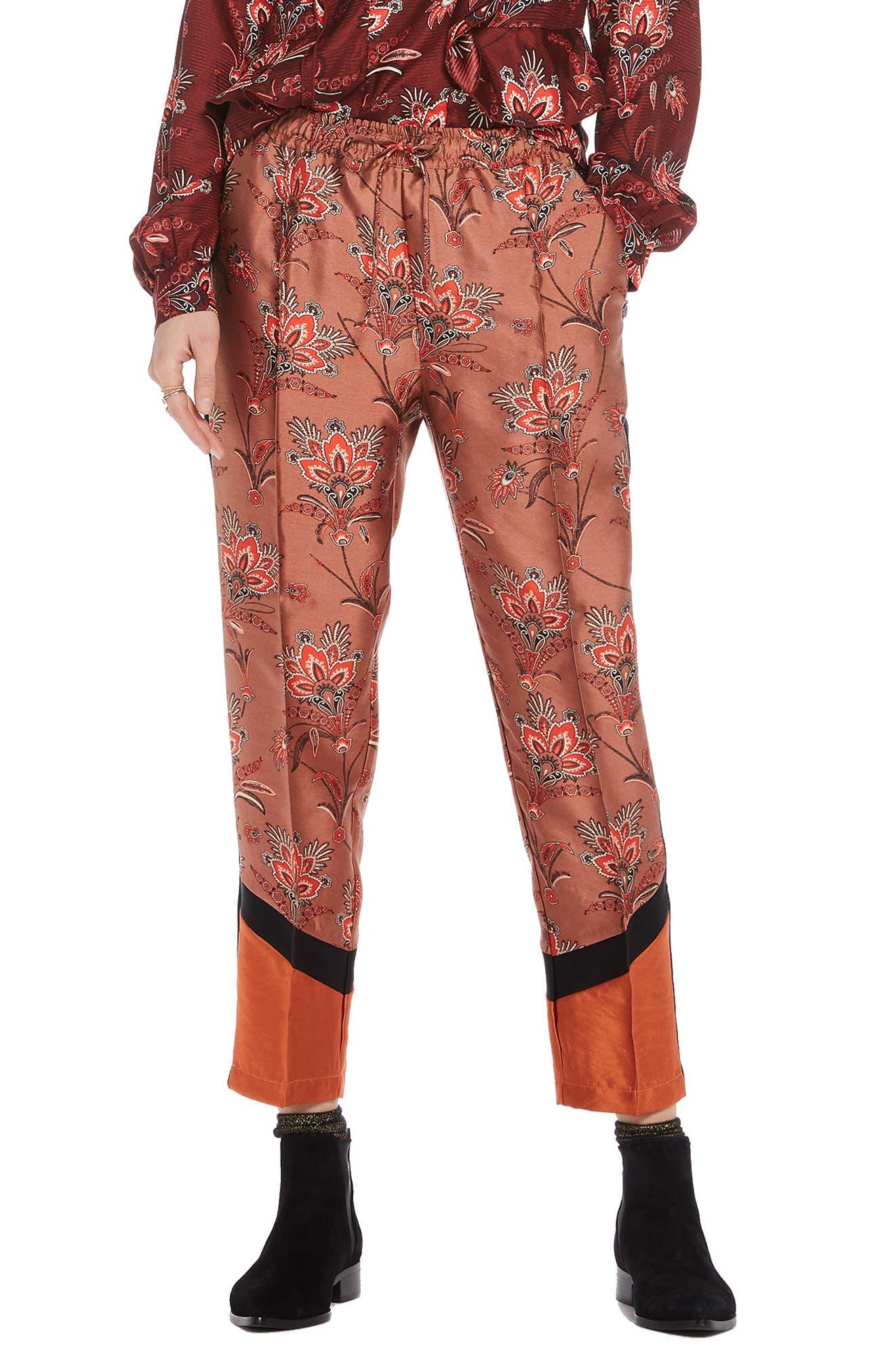 Print Jogger Pants,                         Main,                         color, DUSTY PINK PRINT W/ ORANGE