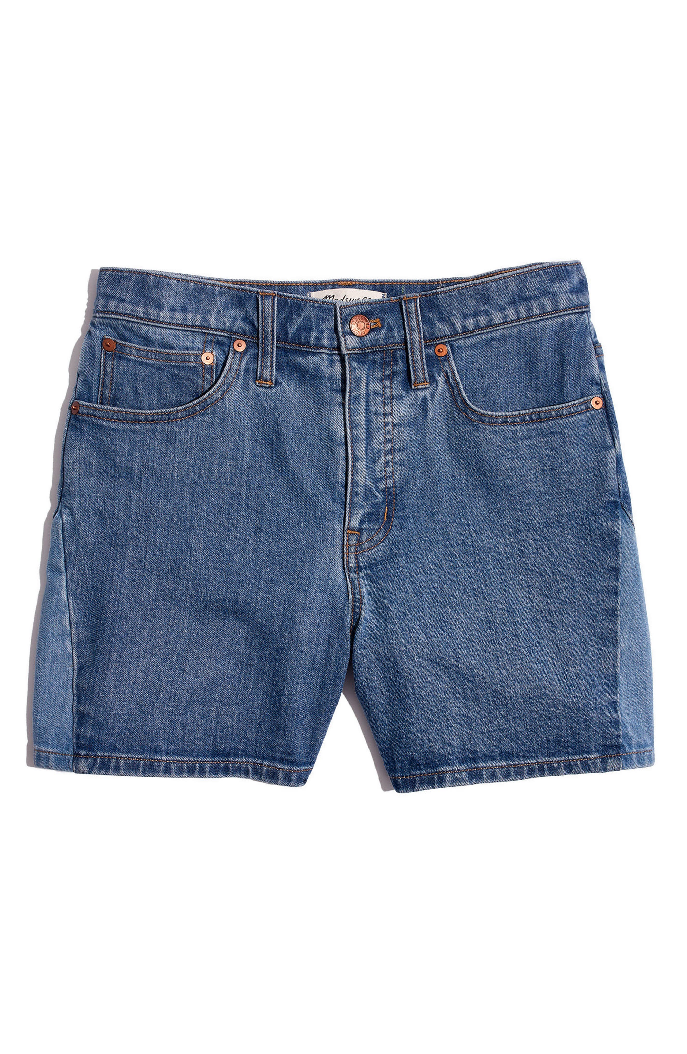 High Waist Pieced Denim Shorts,                             Alternate thumbnail 4, color,                             400
