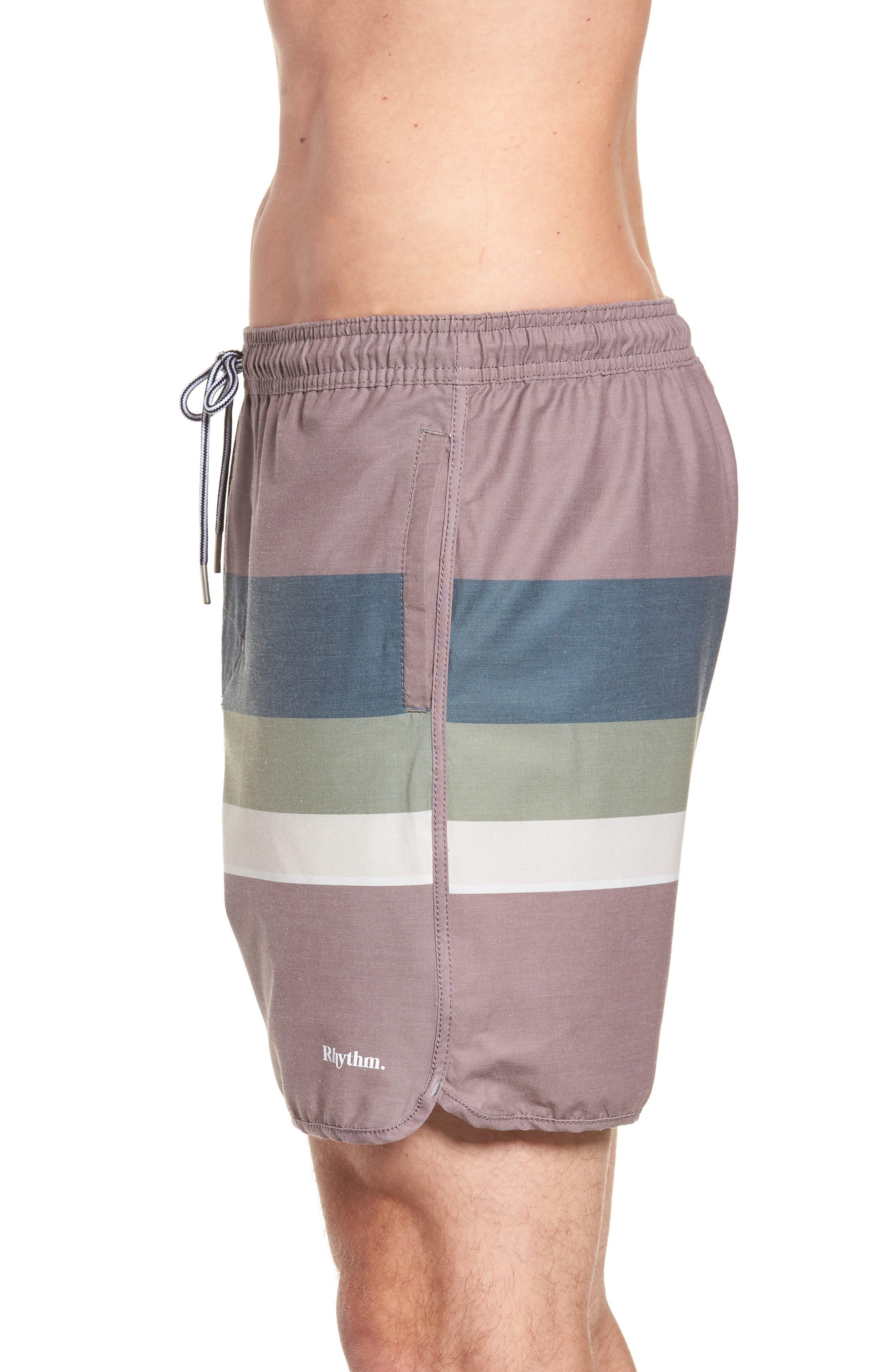 Retro Stripe Beach Swim Trunks,                             Alternate thumbnail 3, color,                             MUSK