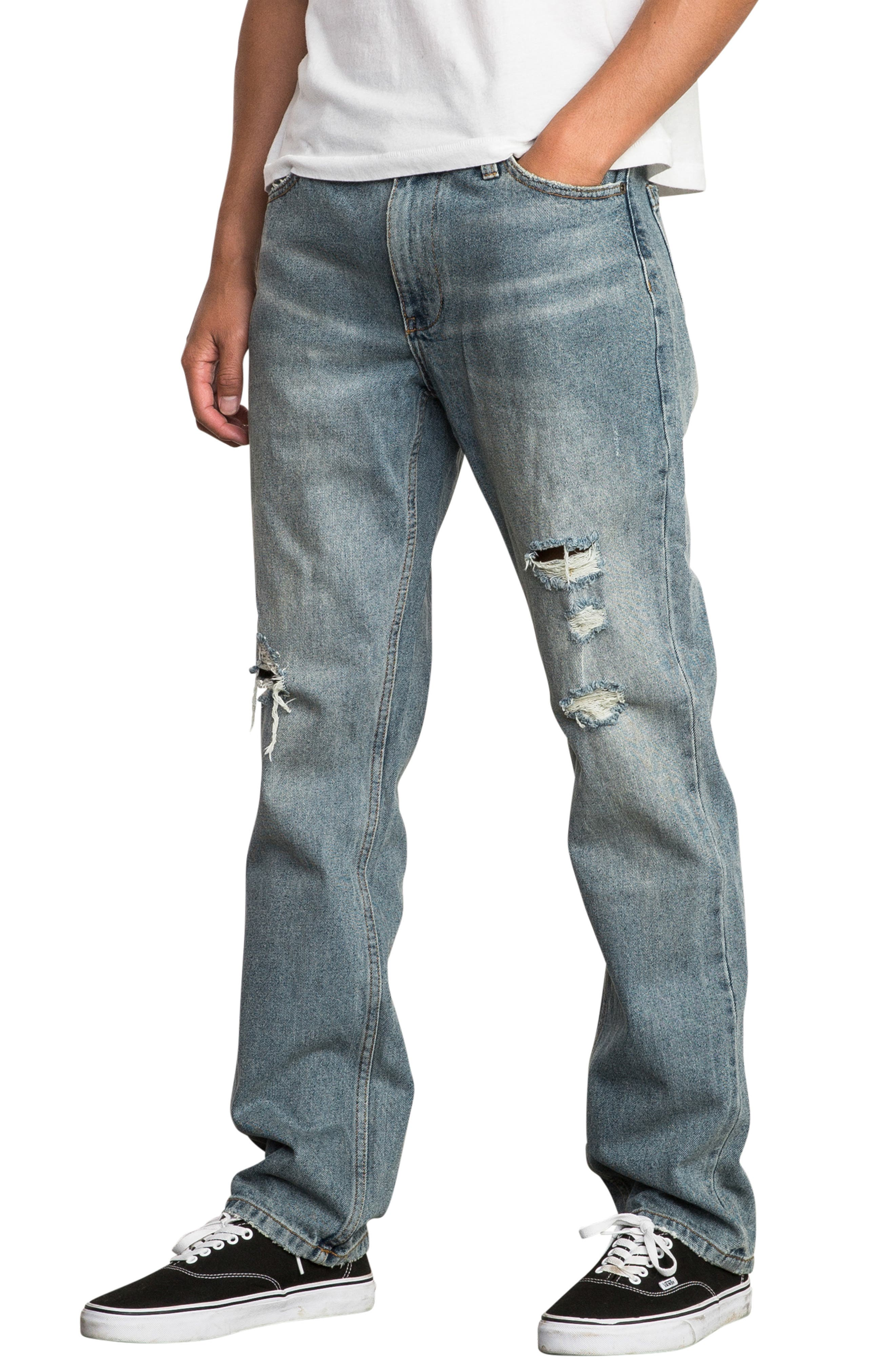Stay RVCA Slim Fit Jeans,                             Alternate thumbnail 3, color,                             WORN BLUE