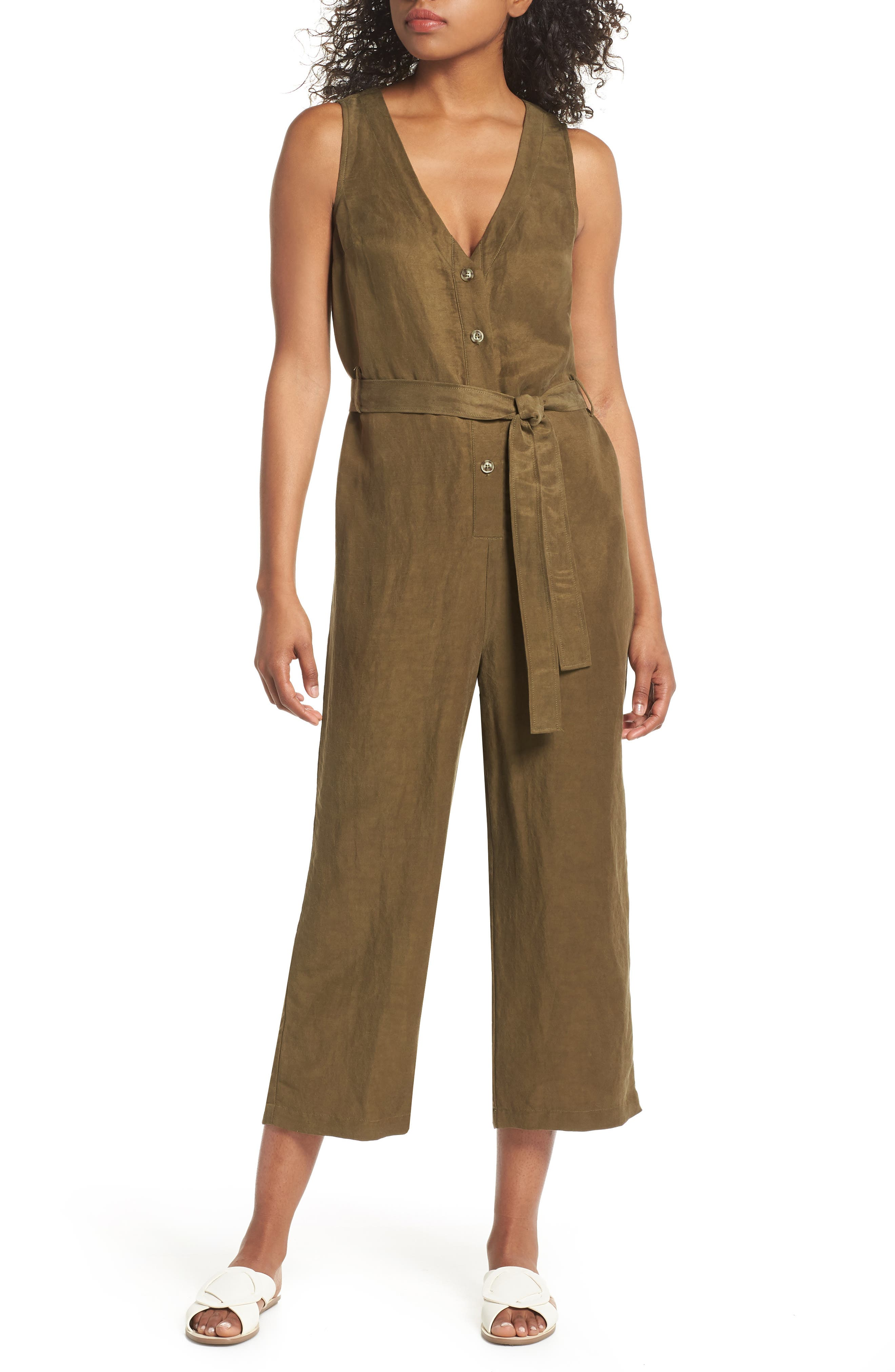 Sleeveless V-Neck Jumpsuit,                             Main thumbnail 1, color,                             300