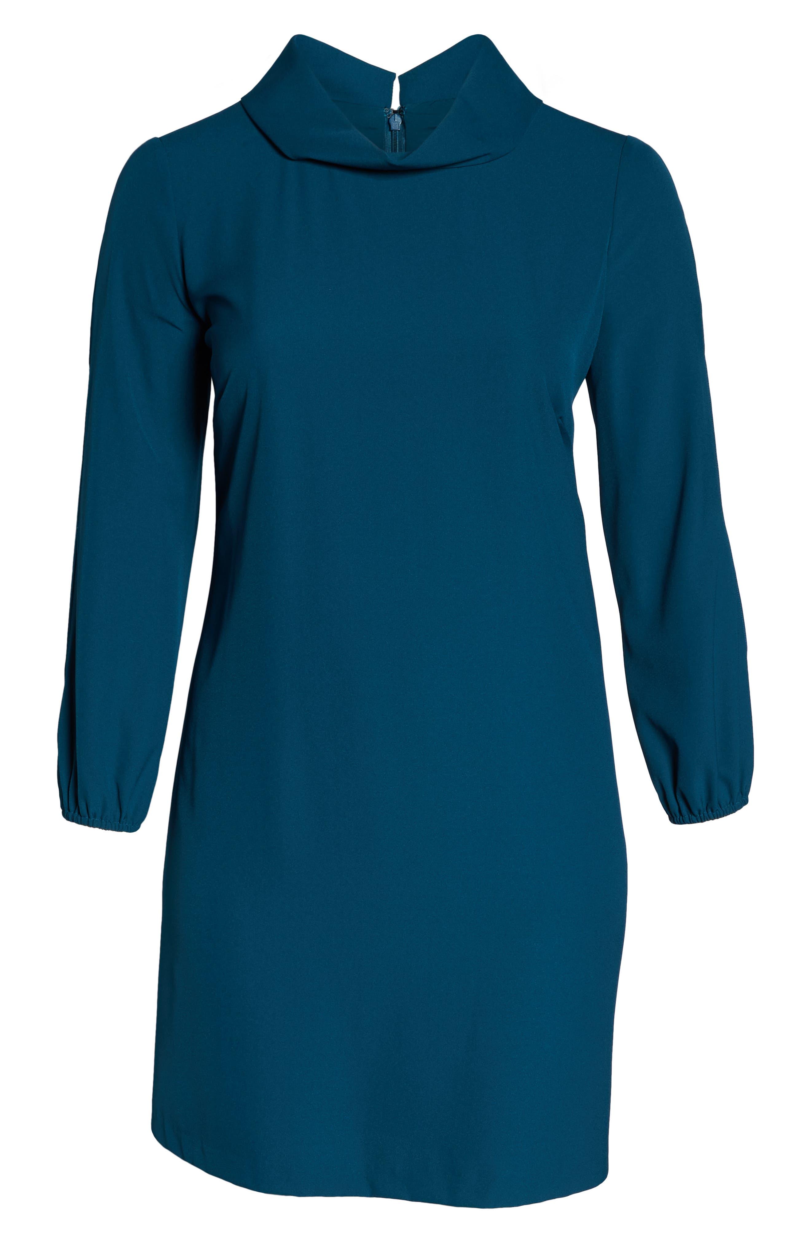 Long Split Sleeve Crepe Sheath Dress,                             Alternate thumbnail 7, color,                             OCEAN TEAL