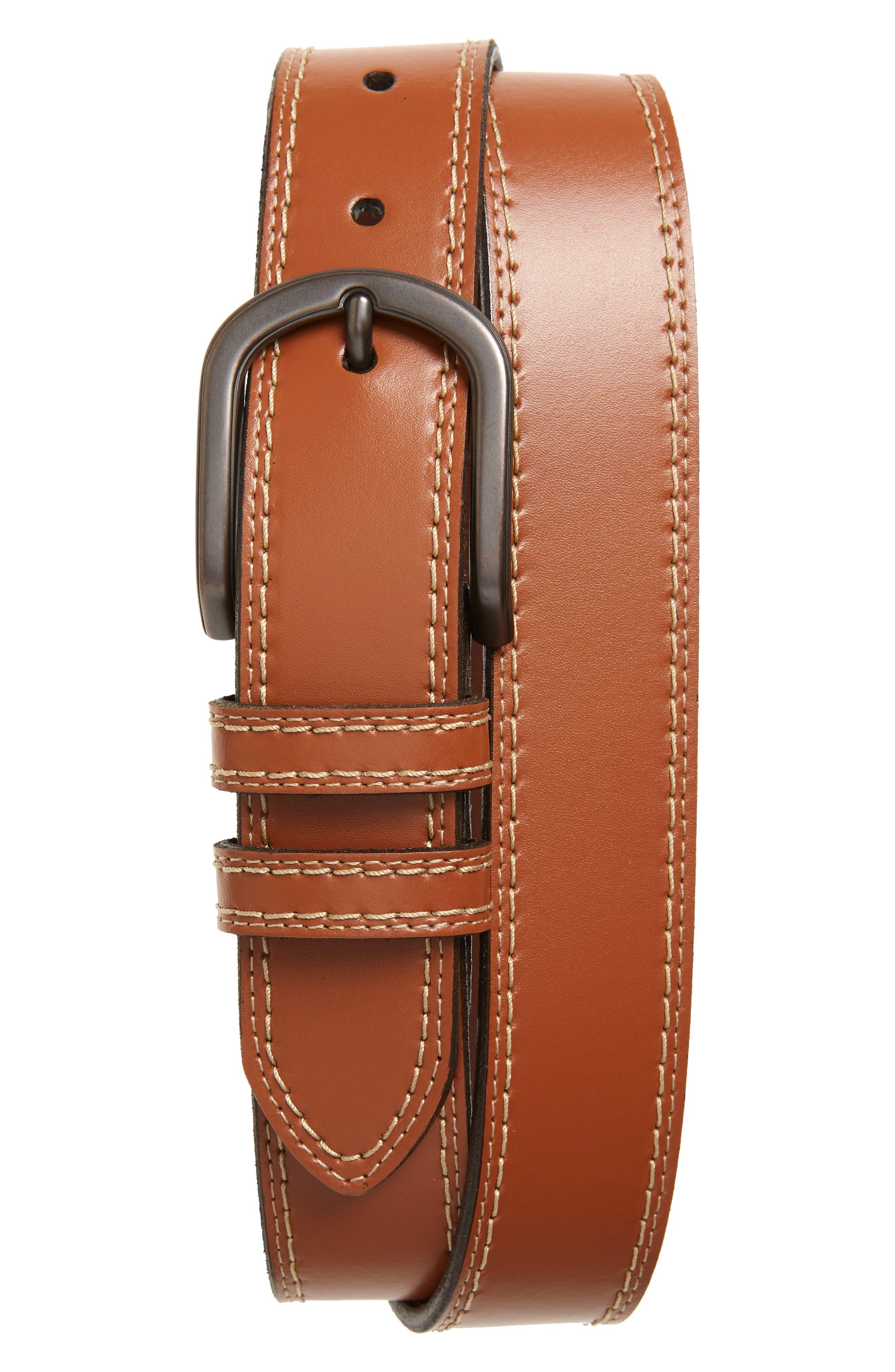 Torino Leather Belt, Cognac