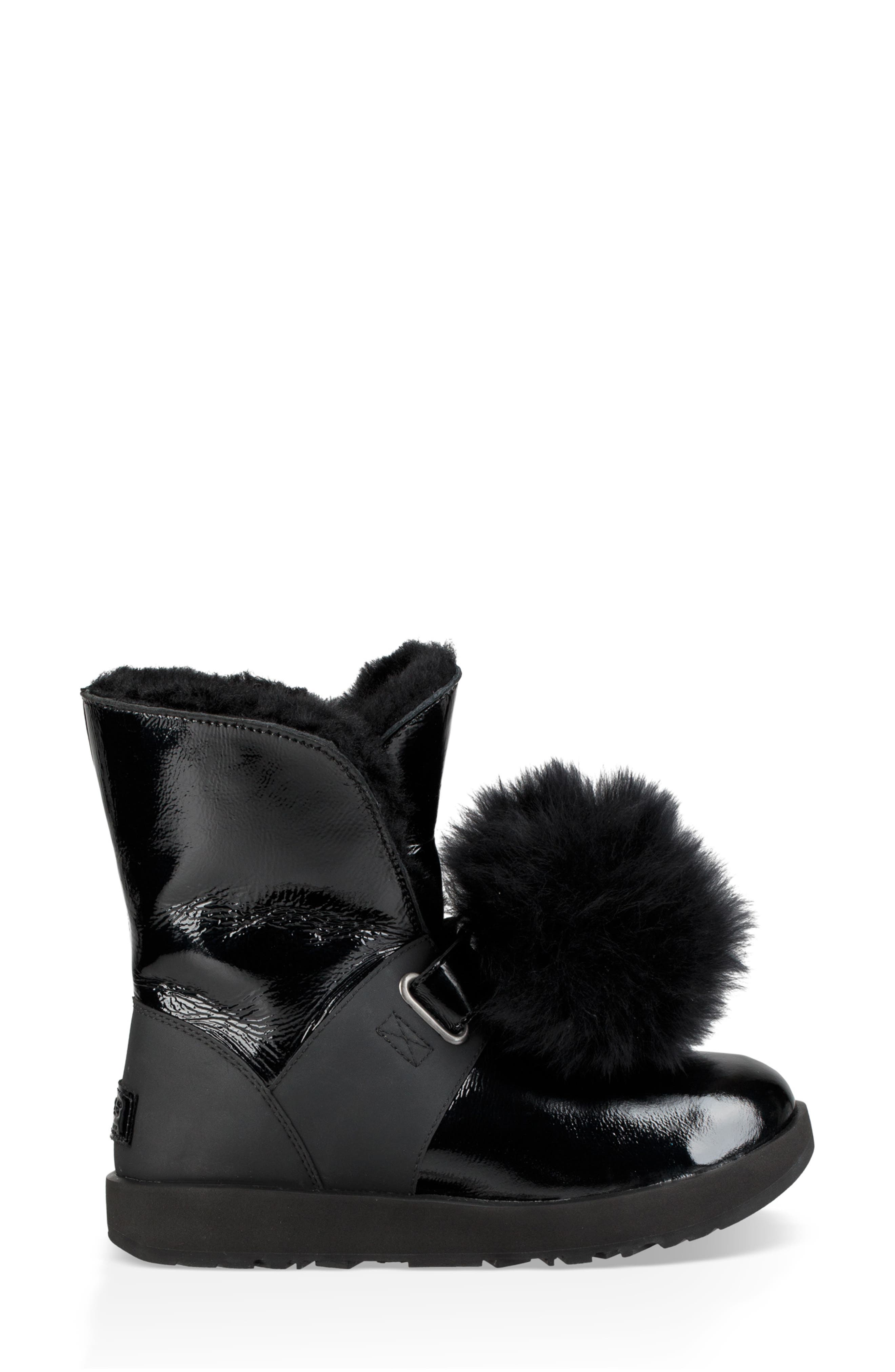 Isley Genuine Shearling Waterproof Patent Pom Bootie,                             Alternate thumbnail 3, color,                             BLACK