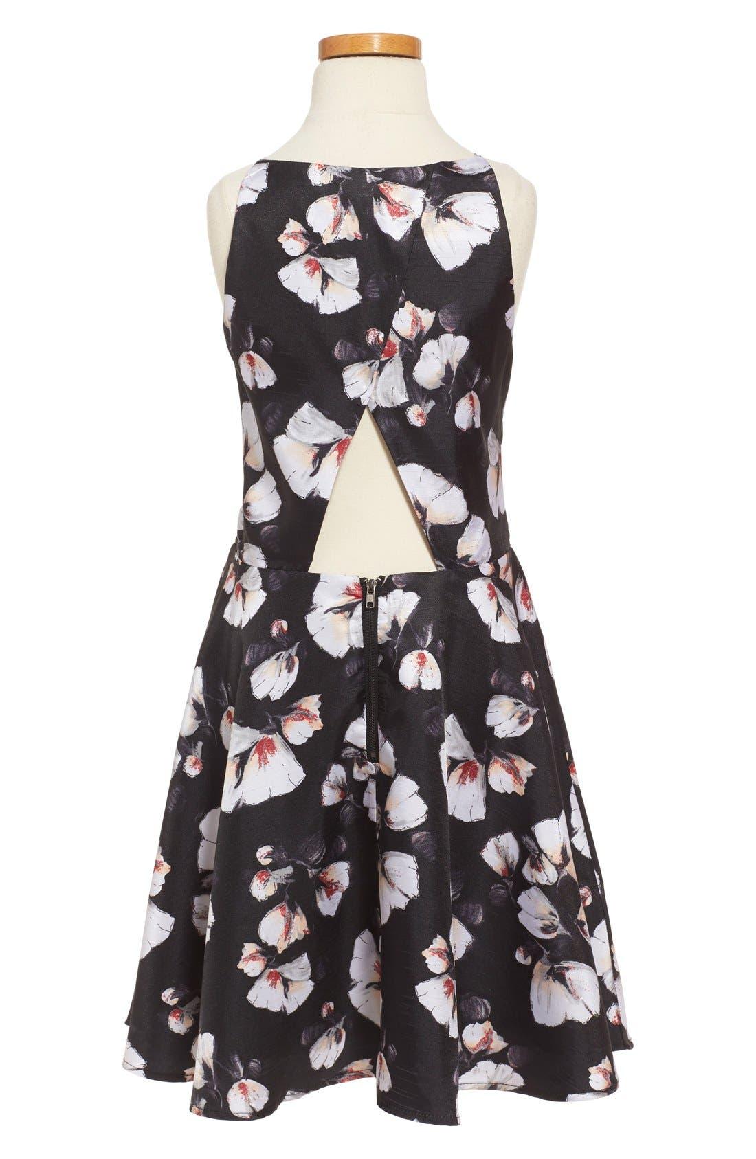 'Alexis' Flower Print Fit & Flare Dress,                             Alternate thumbnail 3, color,                             001