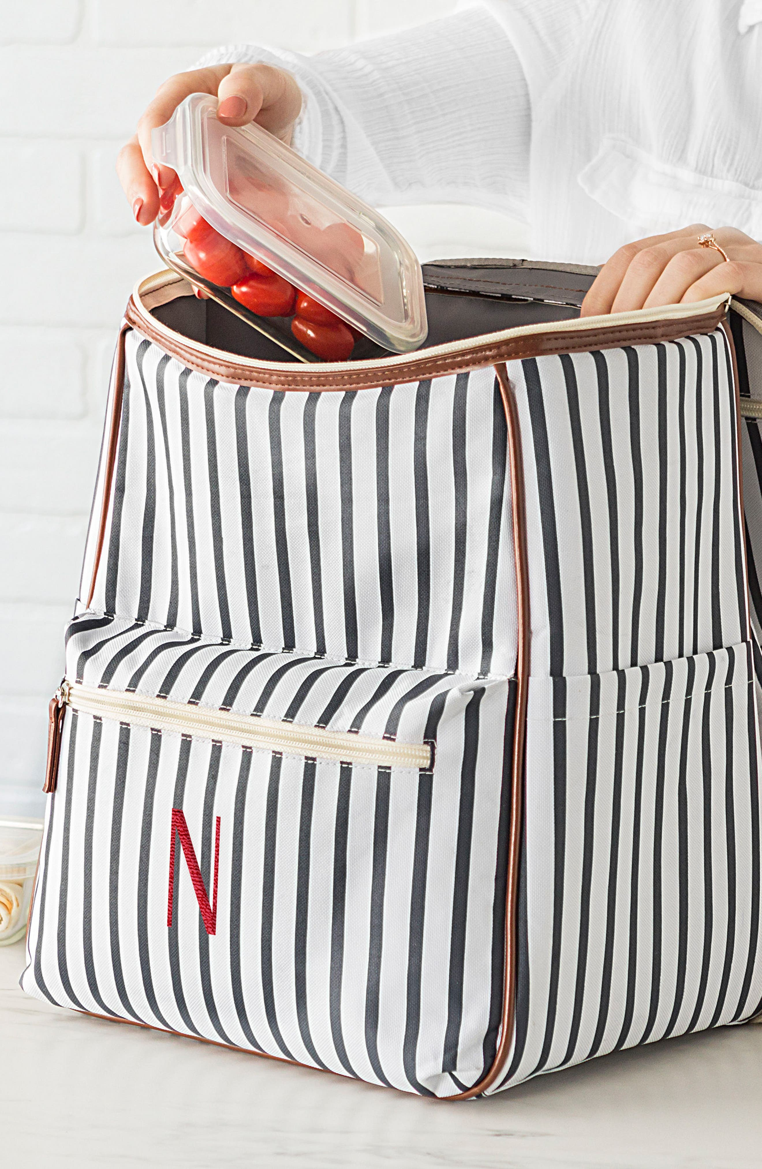 Monogram Stripe Backpack Cooler,                             Alternate thumbnail 7, color,                             BLUE