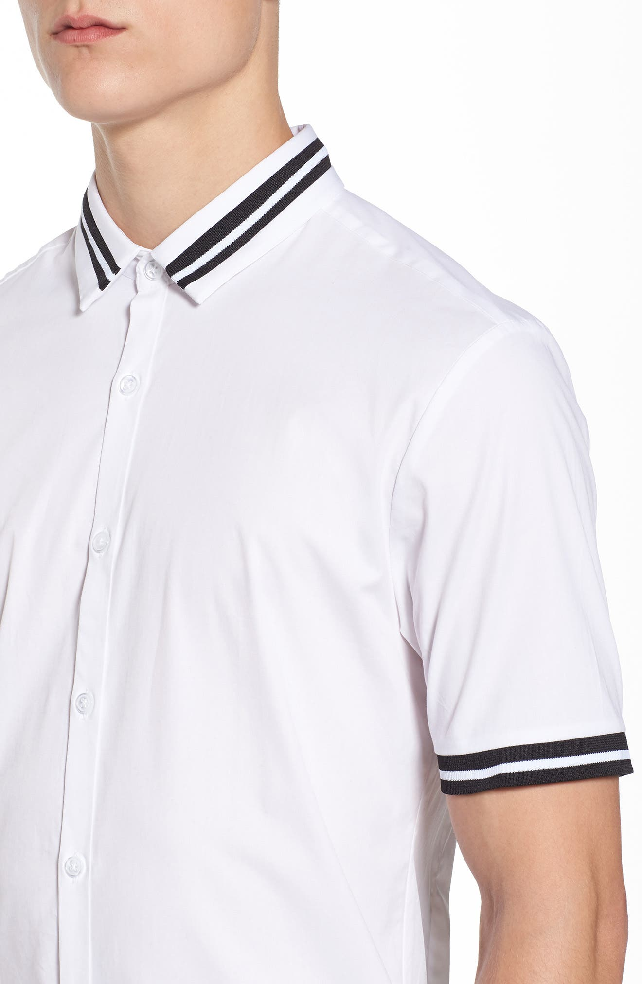 Muscle Fit Stripe Tipped Shirt,                             Alternate thumbnail 7, color,