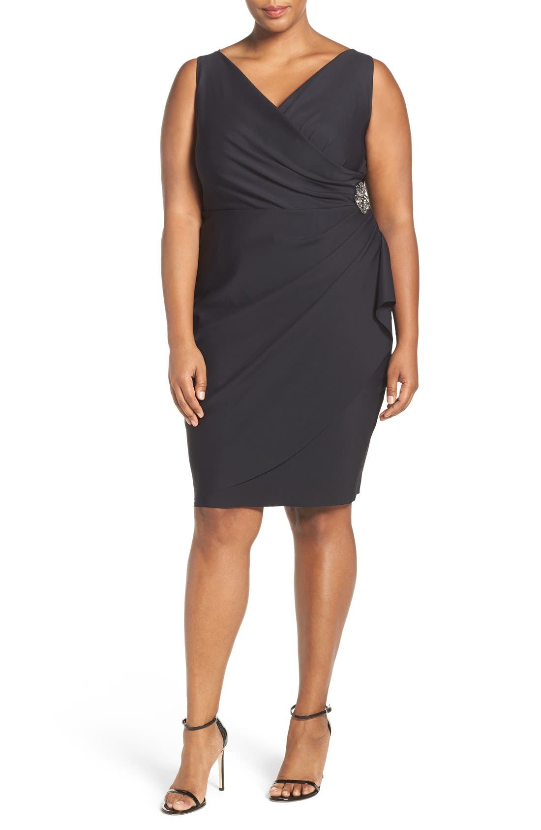 Embellished Surplice Sheath Dress,                             Main thumbnail 1, color,                             001