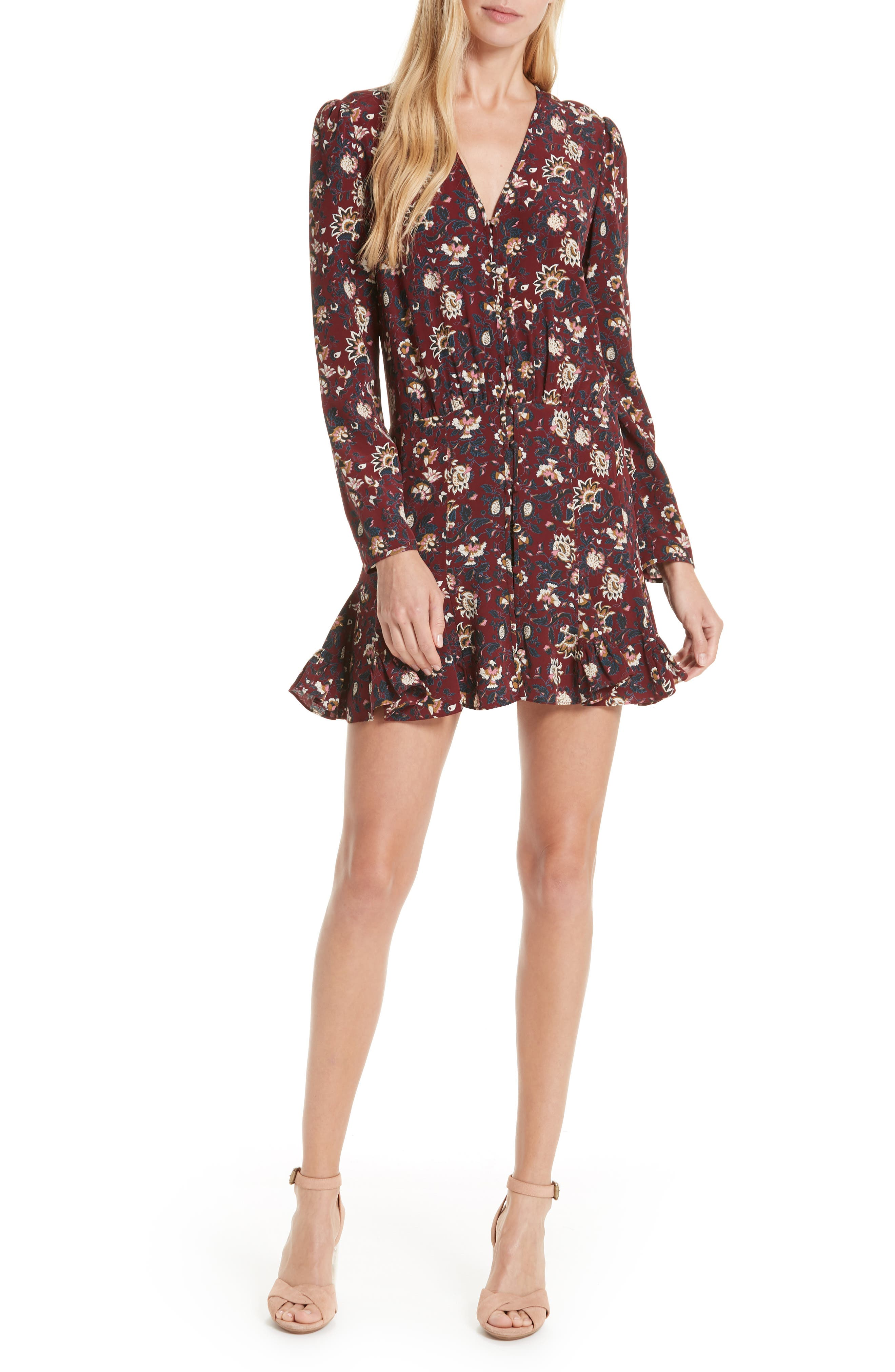 Riggins Silk Dress,                         Main,                         color, BORDEAUX MULTI