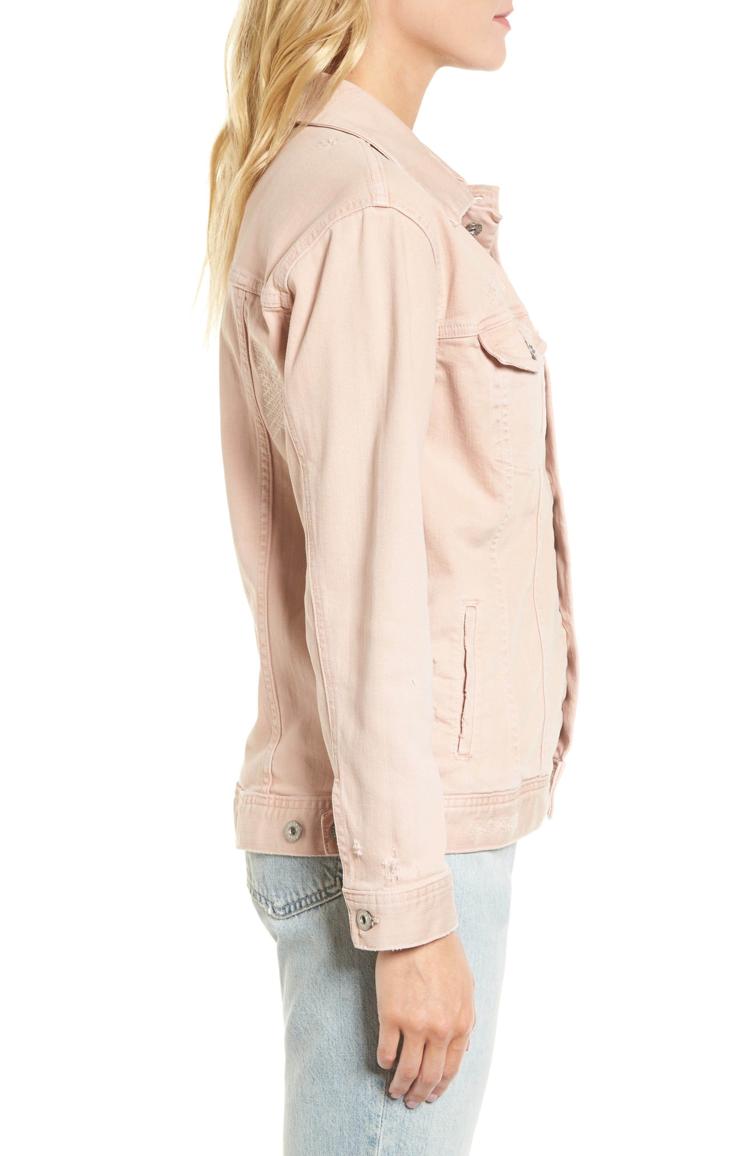 Nancy Distressed Denim Jacket,                             Alternate thumbnail 3, color,                             651