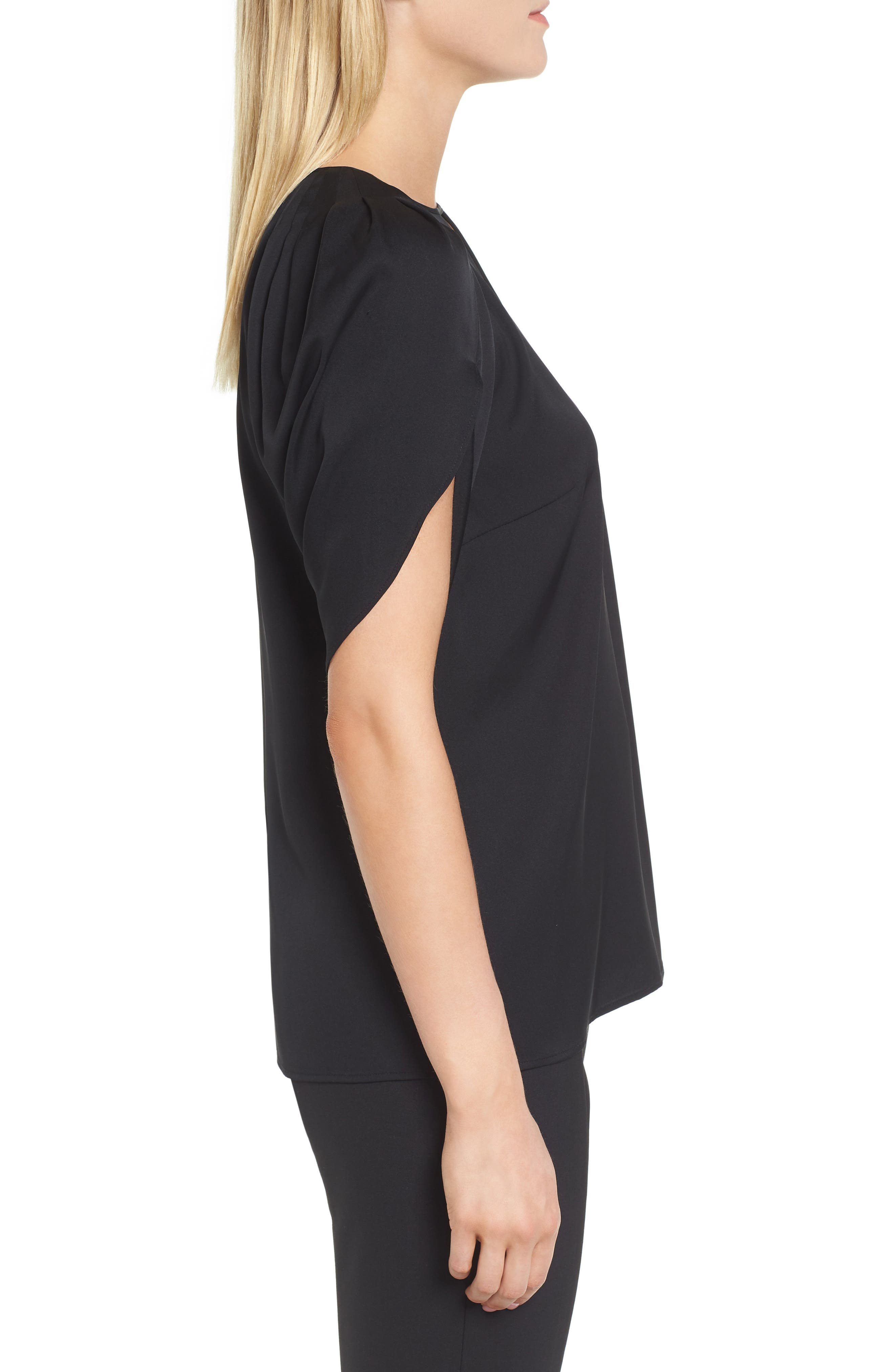 Draped Sleeve Stretch Silk Top,                             Alternate thumbnail 3, color,                             001